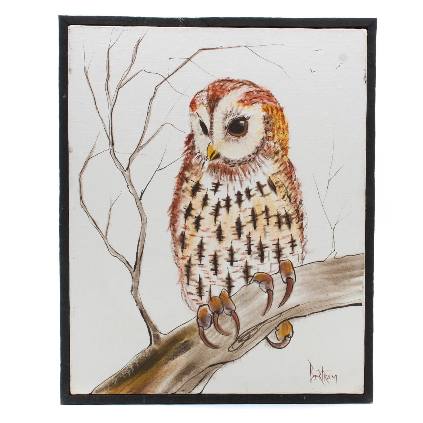 Vintage Bertram Oil Painting of Owl