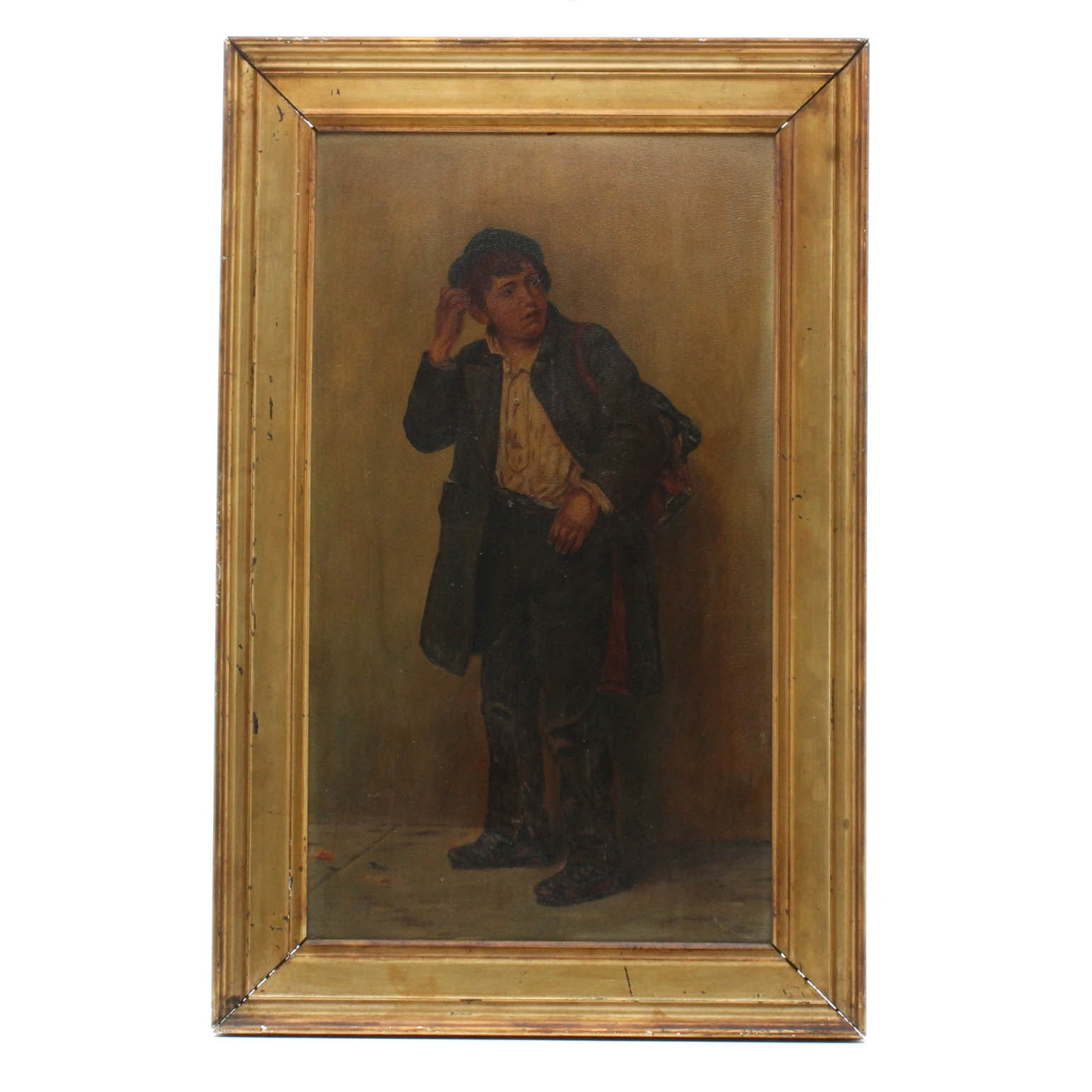 Antique Continental Dodger Boy Oil Painting