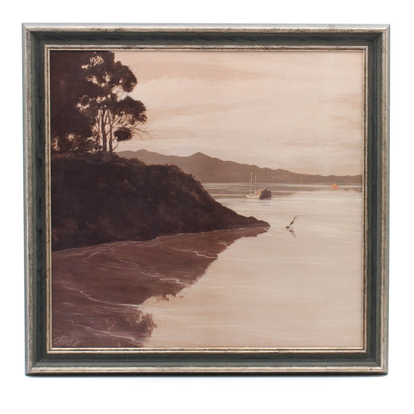 Vintage Sepia Toned Ohio River Painting