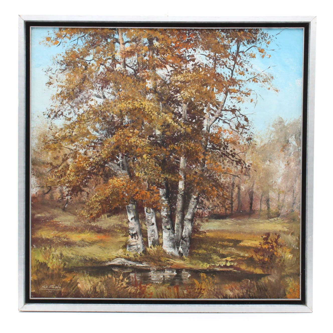 """Vintage Sandra Meade """"Canoe Birch in the Fall"""" Oil Painting"""