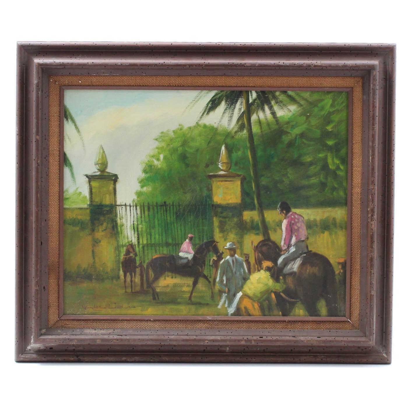 Vander Linder Oil Painting of Jockeys and Race Horses