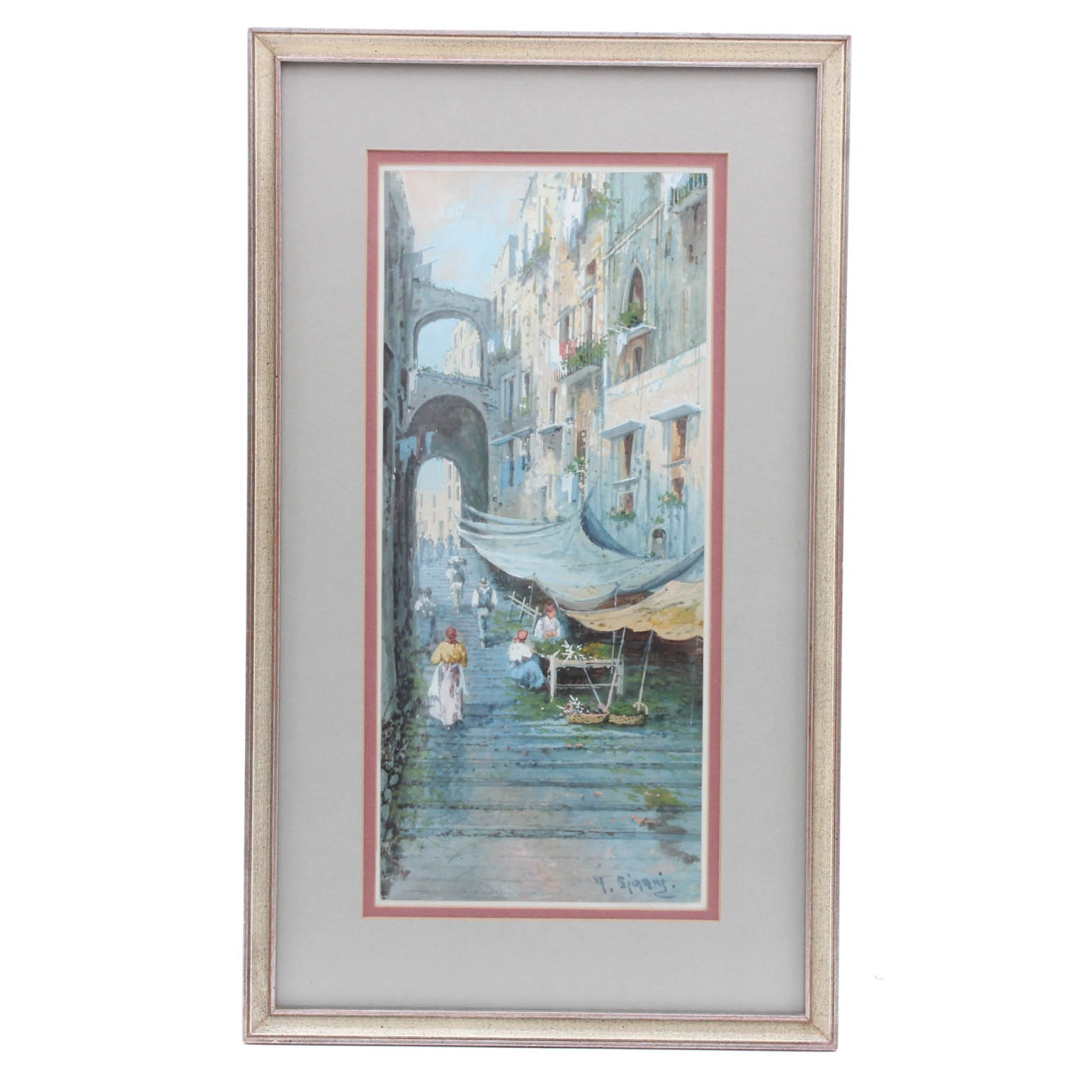 Signed Mediterranean Cityscape Watercolor and Gouache Painting