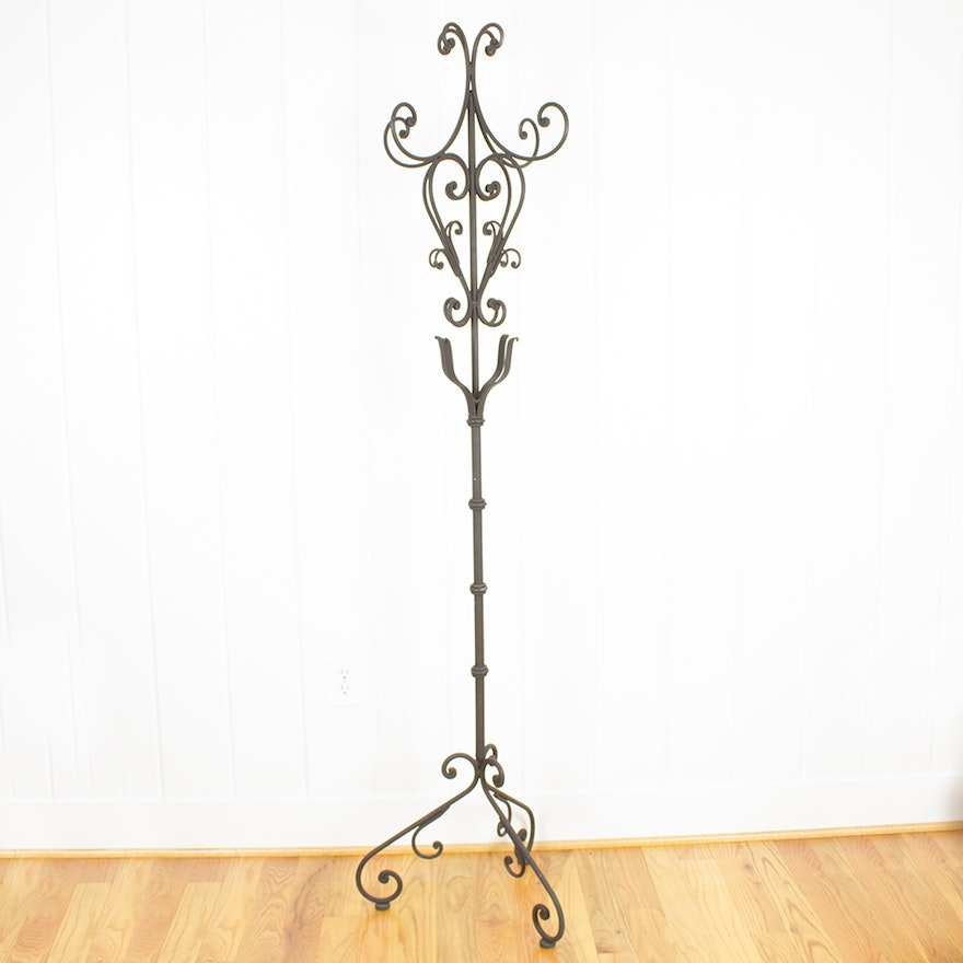 Scrolling Wrought Iron Coat Rack