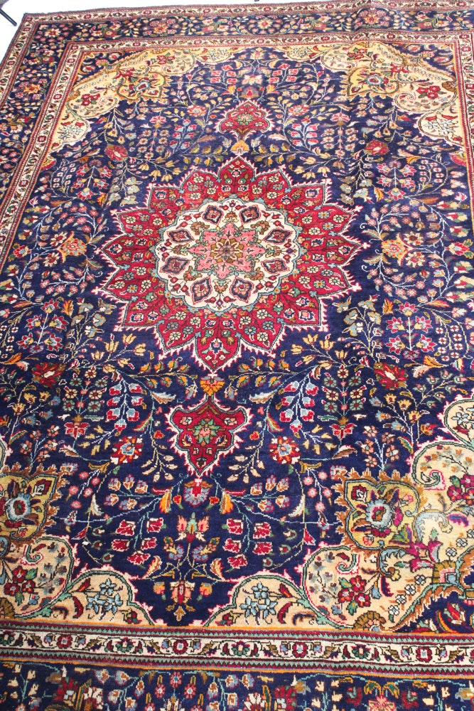 7'9 x 10'5 Vintage Hand-Knotted Persian Qum Rug