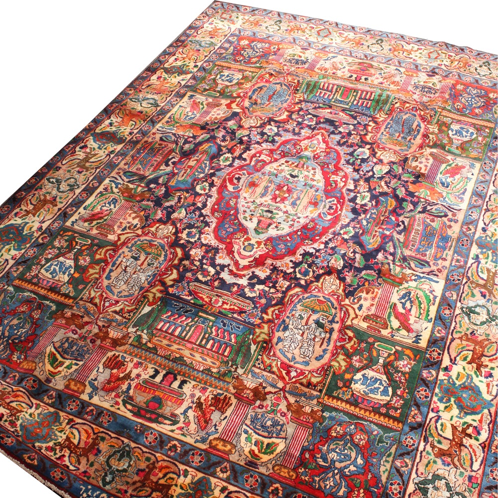 9'2 x 12'7 Vintage Hand-Knotted Parvizzi Signed Archaeological Kashmar Rug