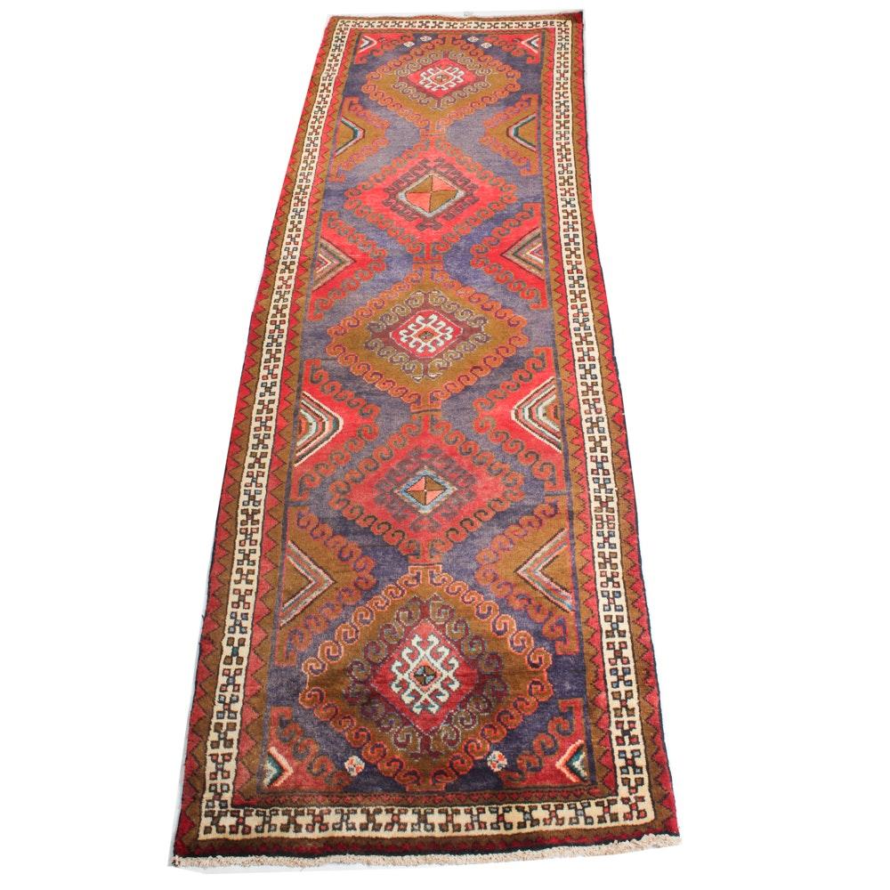 3'4 x 10'3 Vintage Hand-Knotted Persian Karaja Heriz Rug