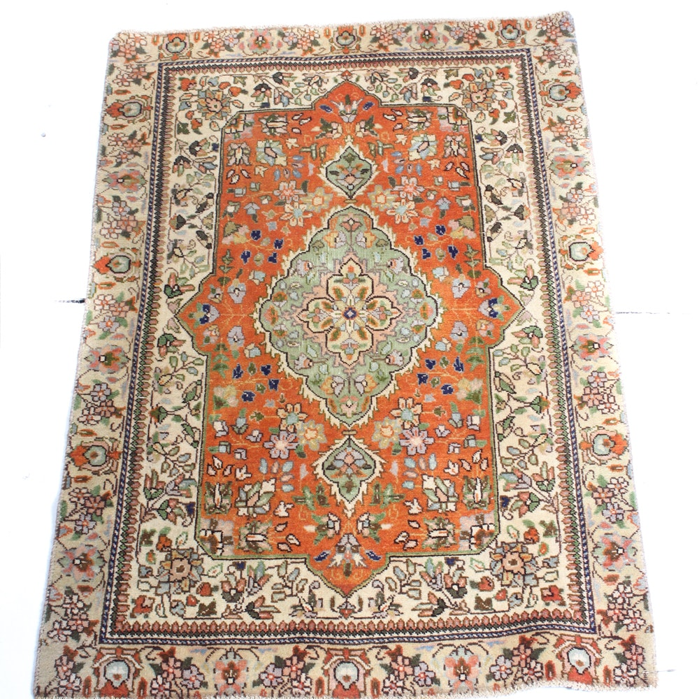 3'0 x 4'5 Vintage Hand-Knotted Persian Qum Rug