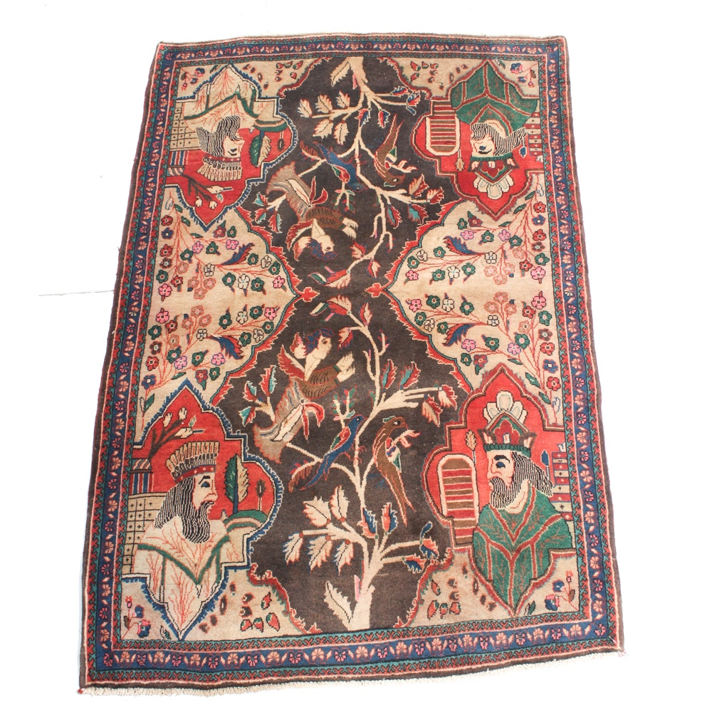 3'8 x 5'7 Vintage Hand-Knotted Persian Pictorial Isfahan Rug