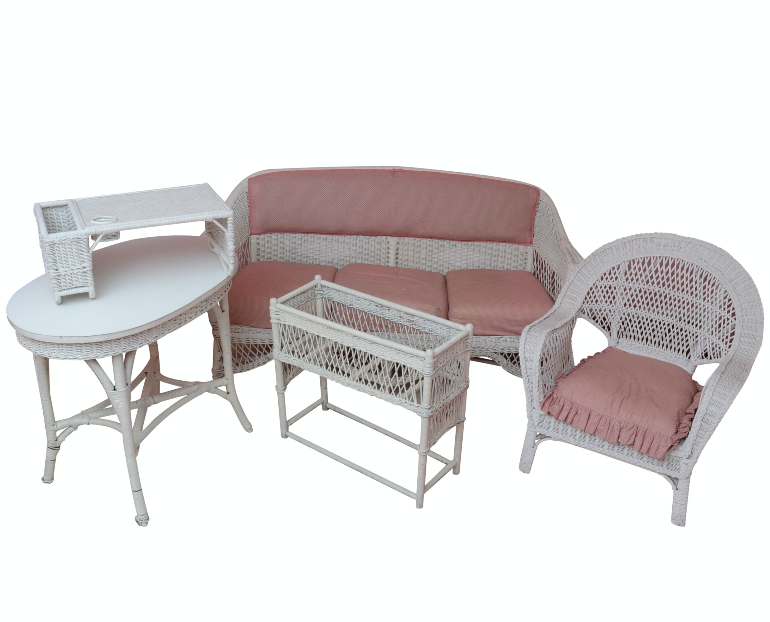 Four Piece Wicker Set with Bed Tray