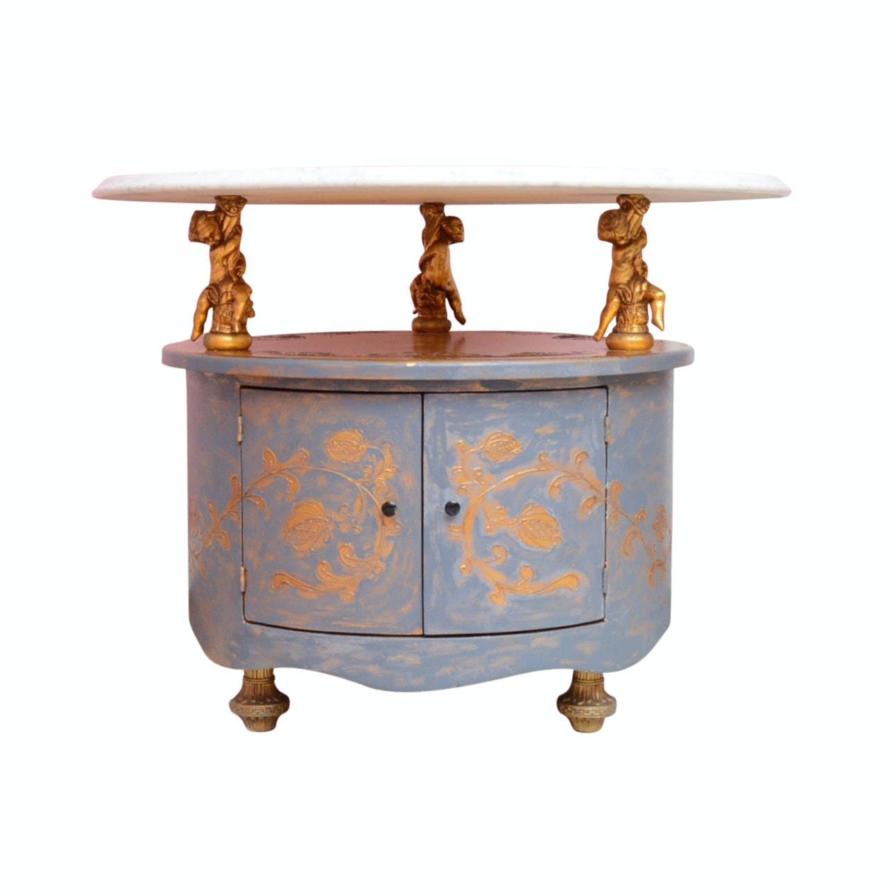 Neoclassical Marble Top Side Table