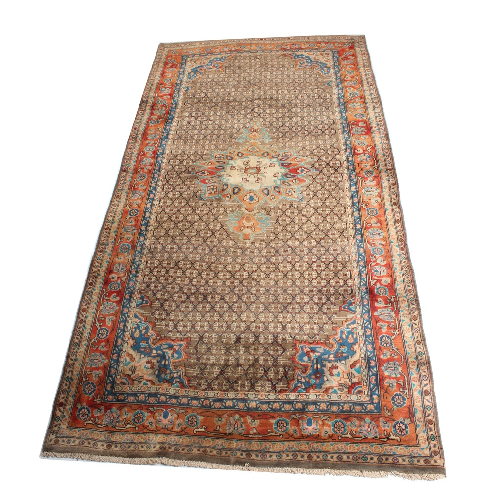 5'1 x 10'1 Vintage Hand-Knotted Persian Senneh Bijar Rug