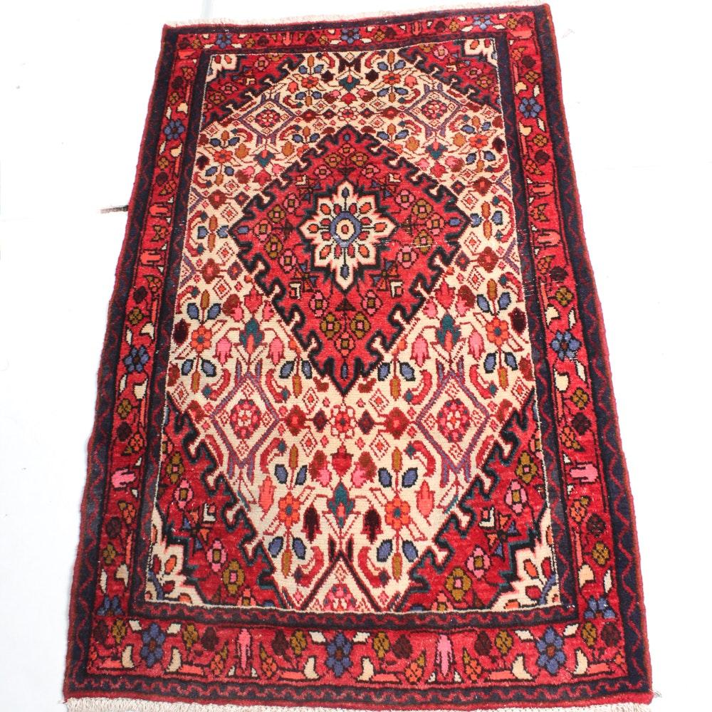 2'11 x 4'8 Hand-Knotted Persian Hamadan Rug