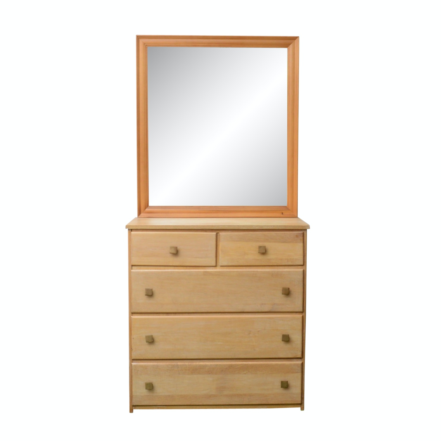 Solid Maple Chest of Drawers with Mirror
