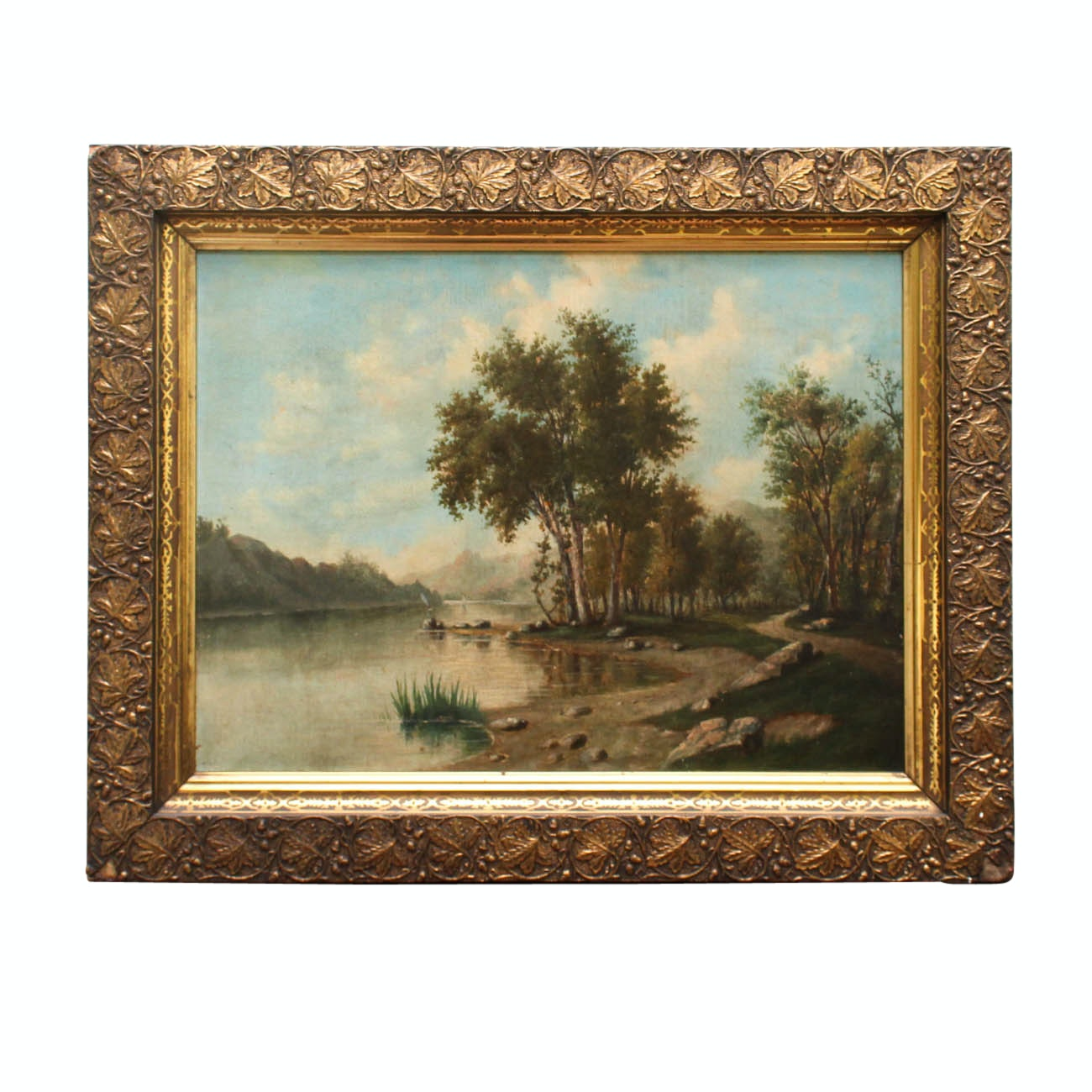 Original Antique Oil Painting of River Scene