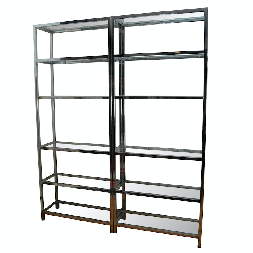 Mid Century Modern-Style Chrome Finished Metal and Glass Shelving ...