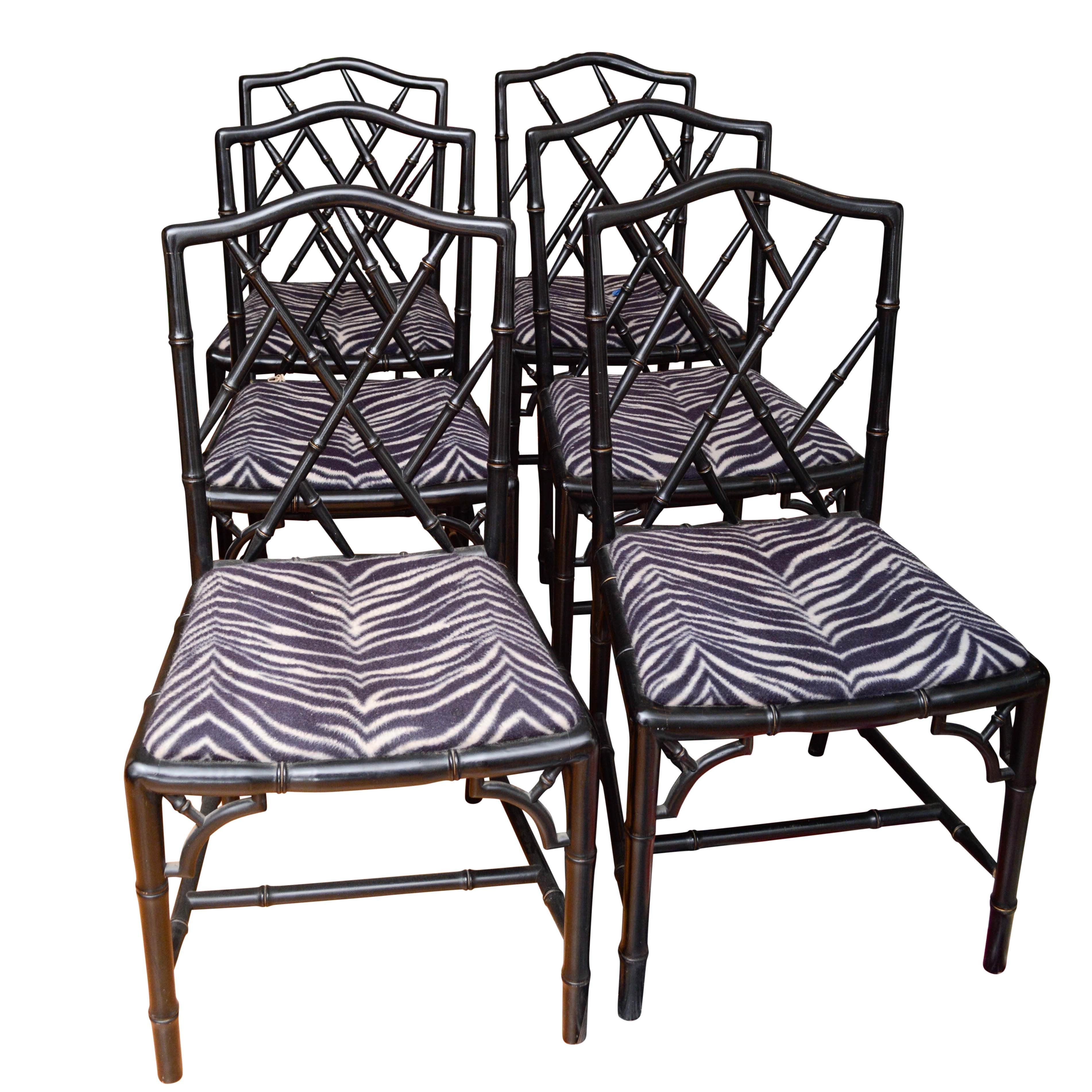 Chinese Chippendale-Style Side Chair with Zebra Print Upholstered Seats