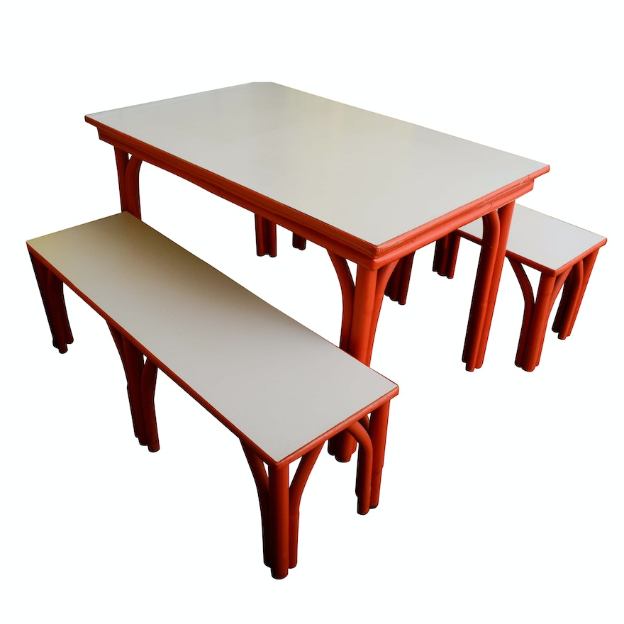 Surprising Mid Century Painted Bent Wood Dining Table And Benches With Laminate Tops Gmtry Best Dining Table And Chair Ideas Images Gmtryco
