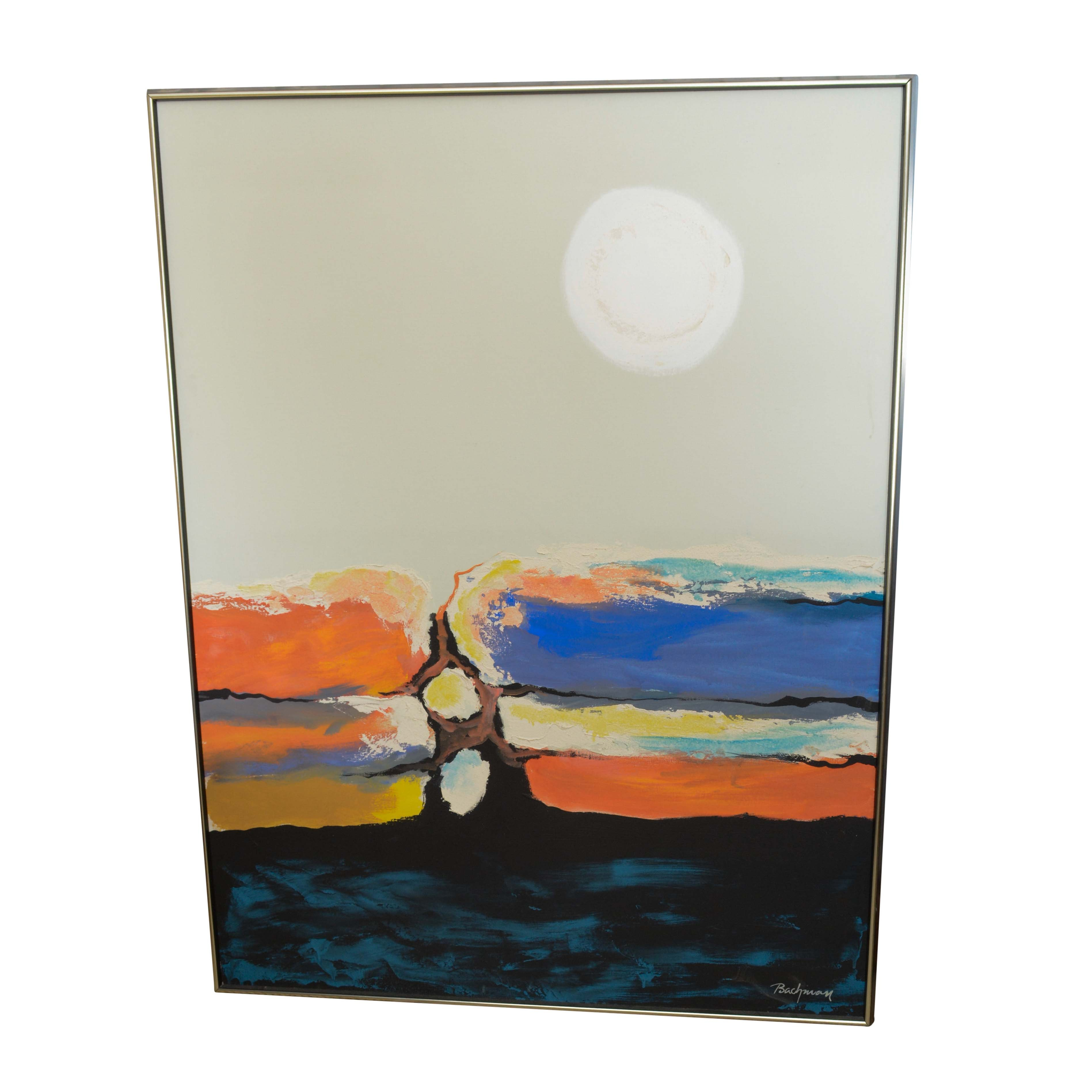 "Bachman ""Moonrise"" Acrylic on Canvas"
