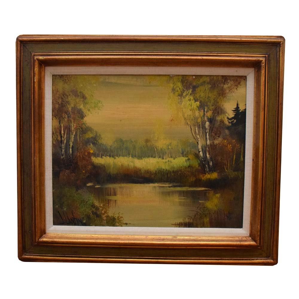 Vintage J. Lanting Oil on Canvas Painting of a River Landscape