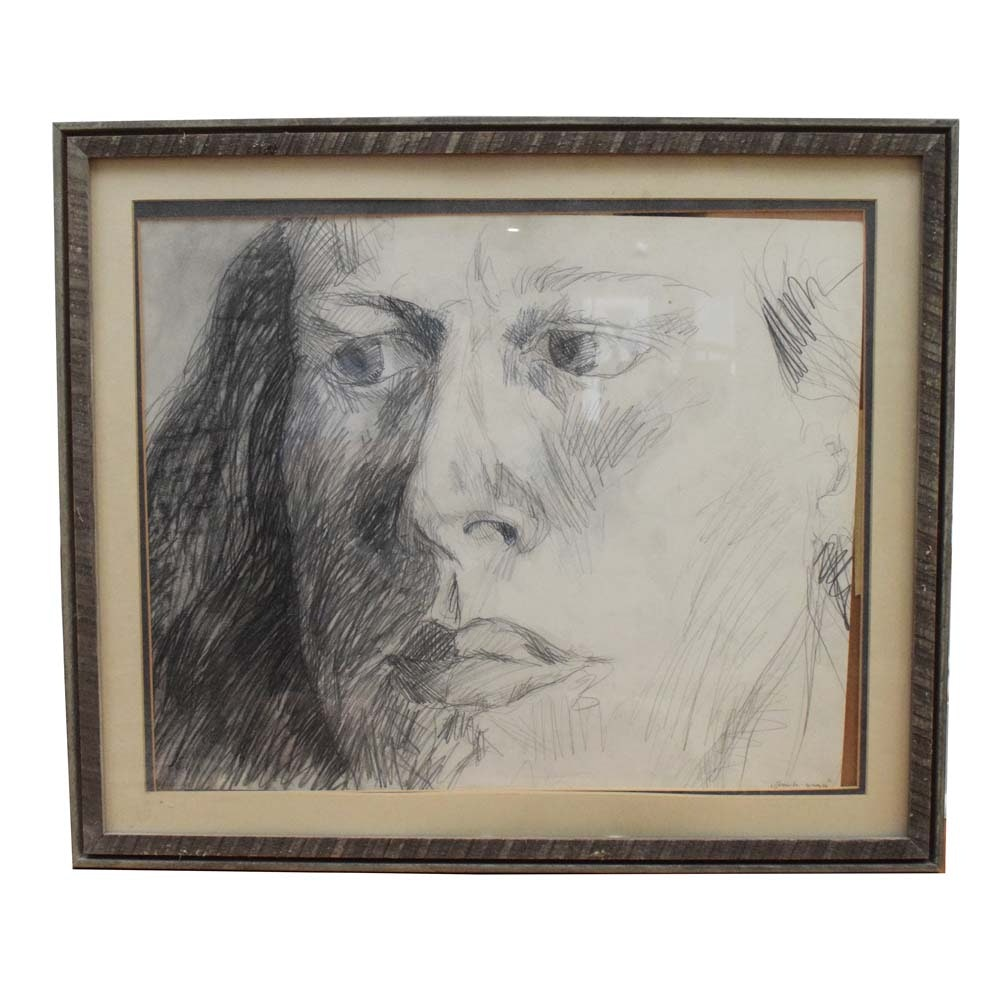 Original Graphite on Paper Drawing of a Woman in Profile