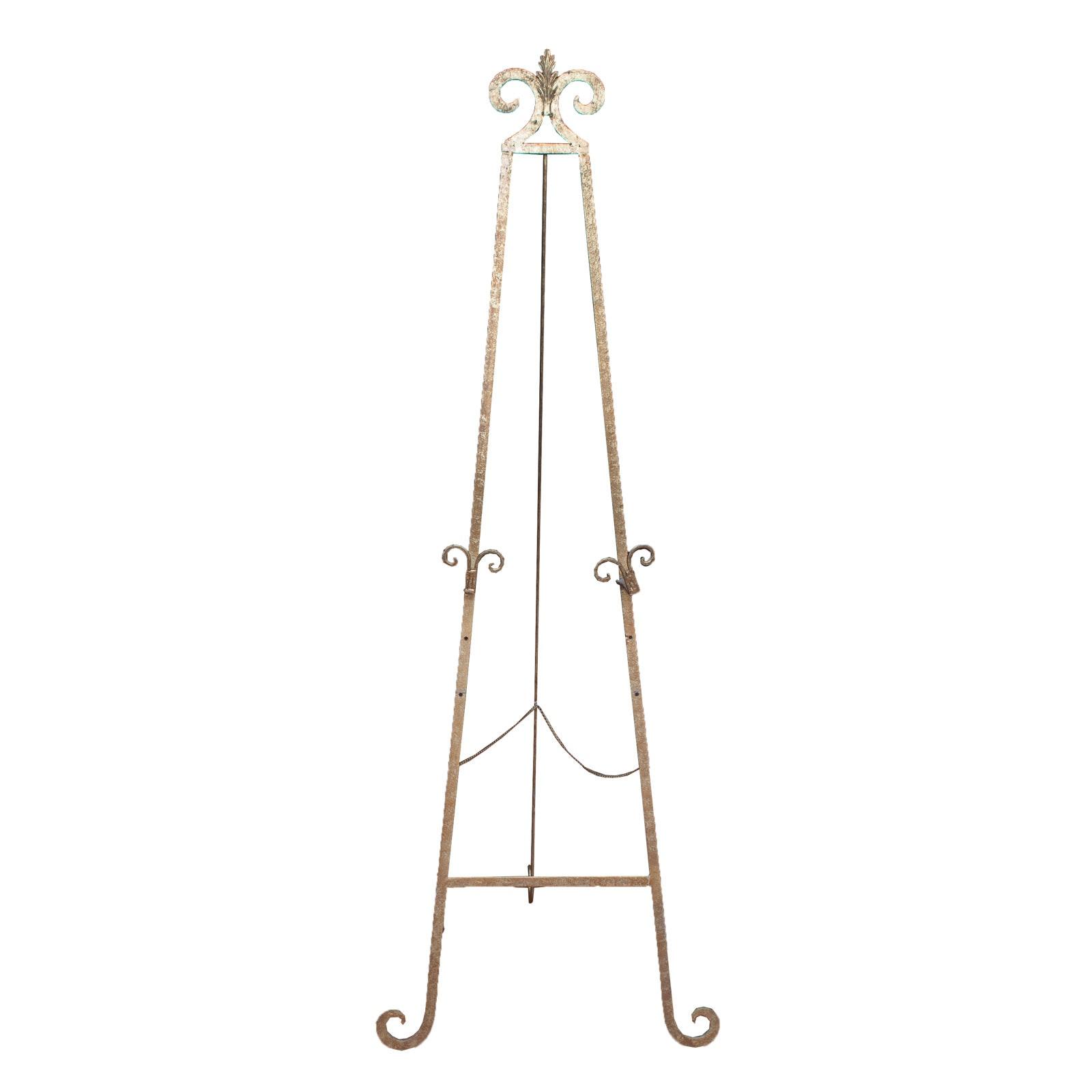 Brass Tone Metal Floor Standing Tripod Art Easel