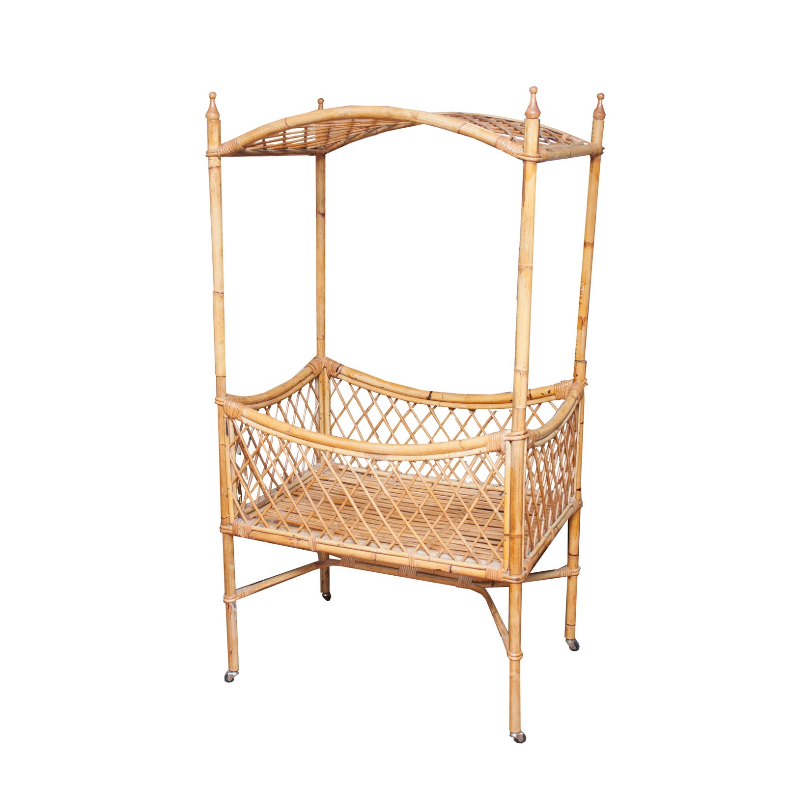Vintage Bamboo and Rattan Doll Canopy Bed