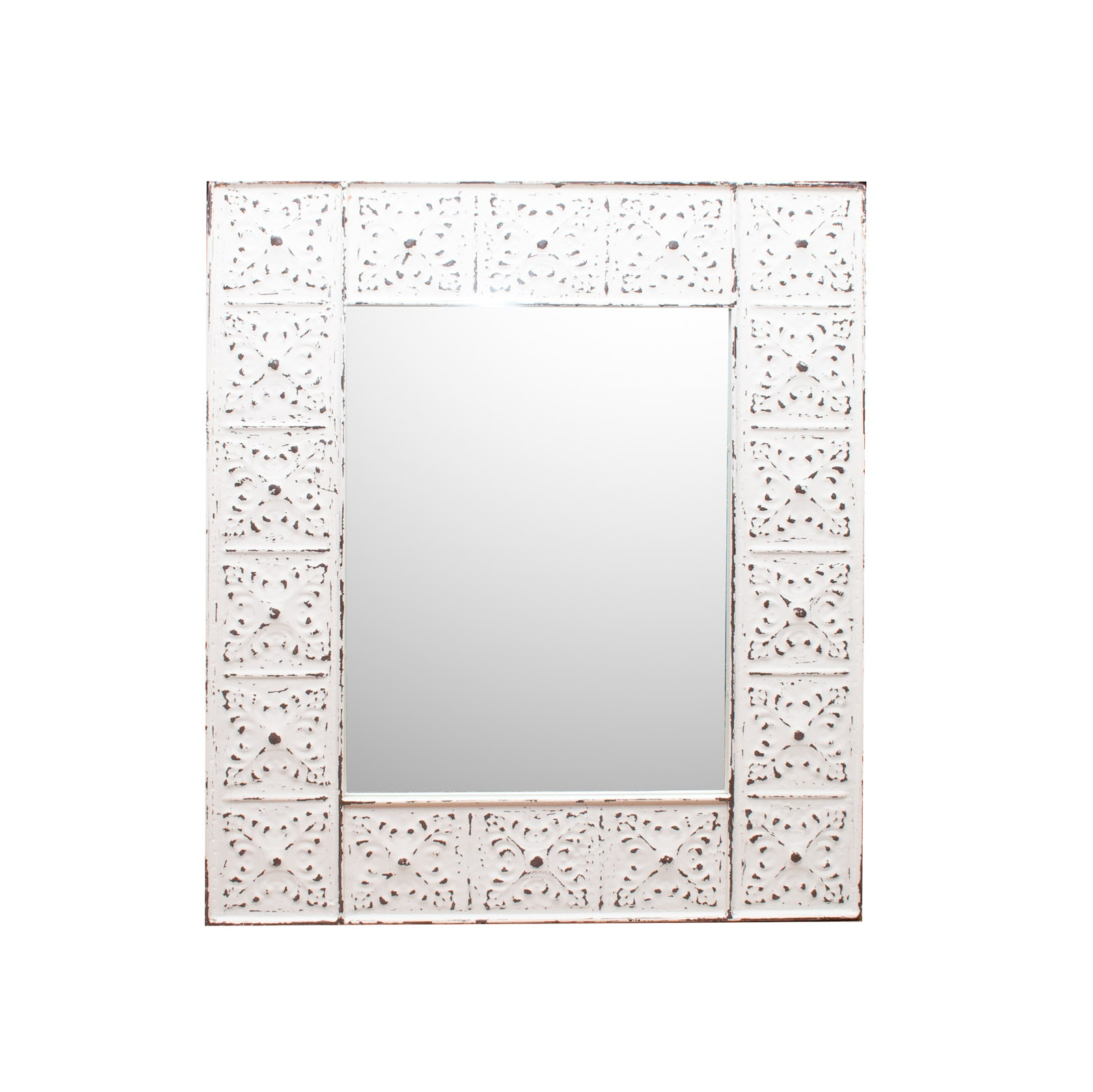 White Embossed Metal Wall Mirror
