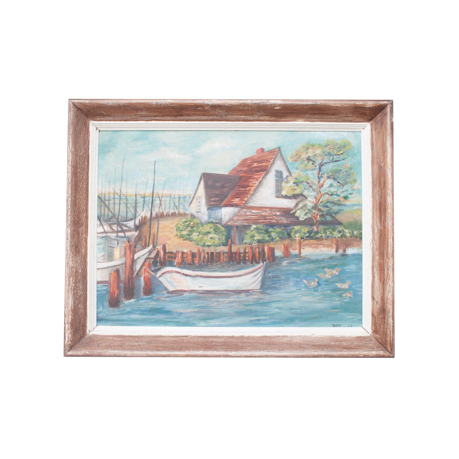 H. Hardler Original Acrylic Painting on Masonite of Nautical Port