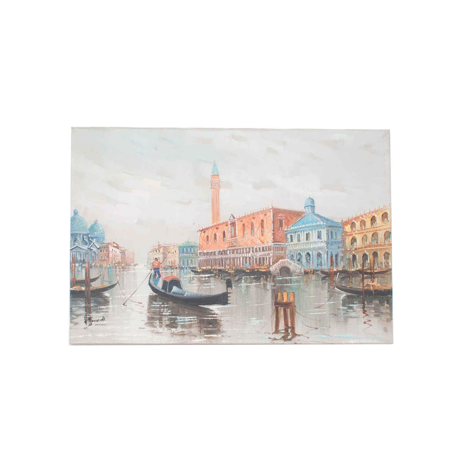 V. Huservigll Original Oil Painting on Canvas of Venice