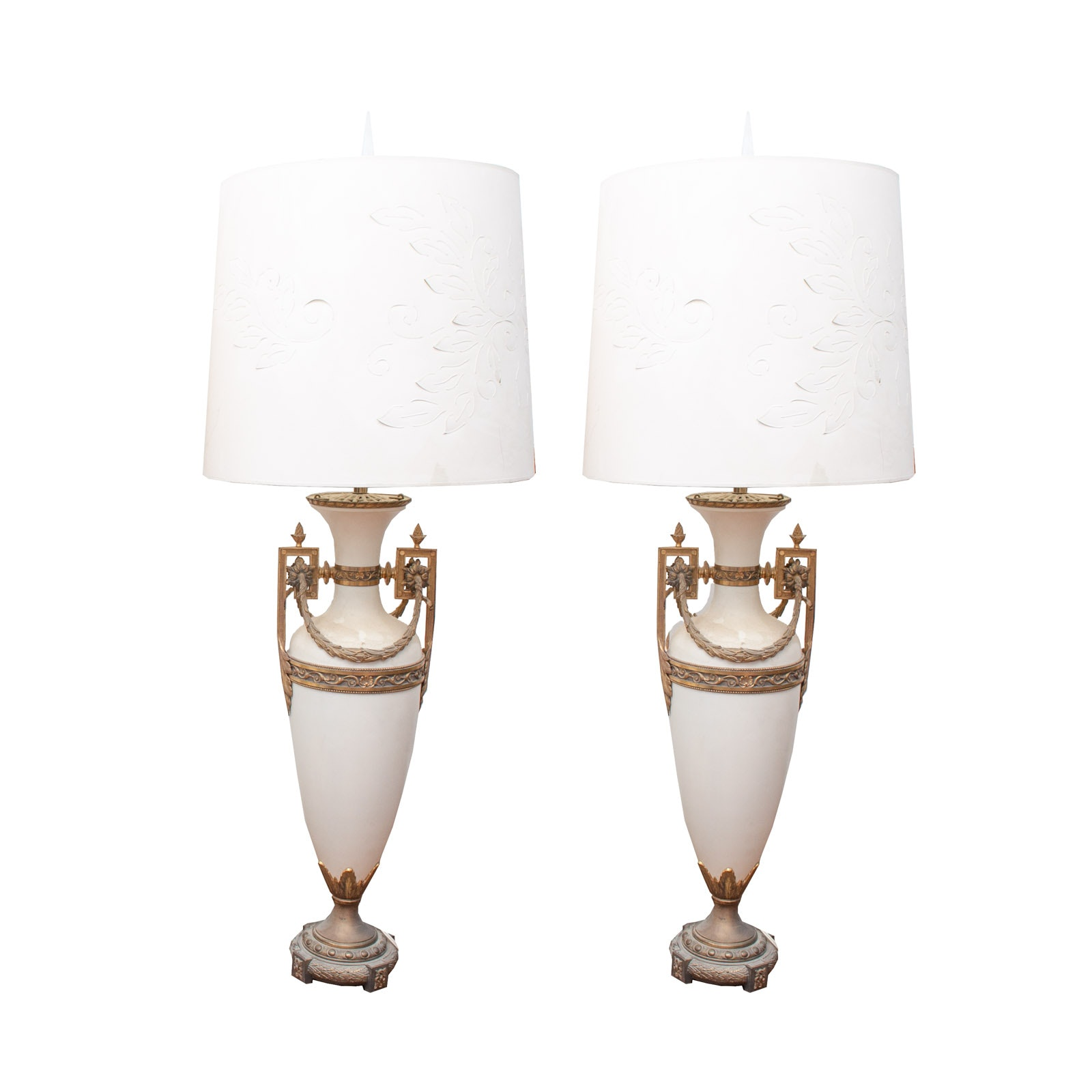 Substantial Neoclassical-Style Brass Urn Table Lamps