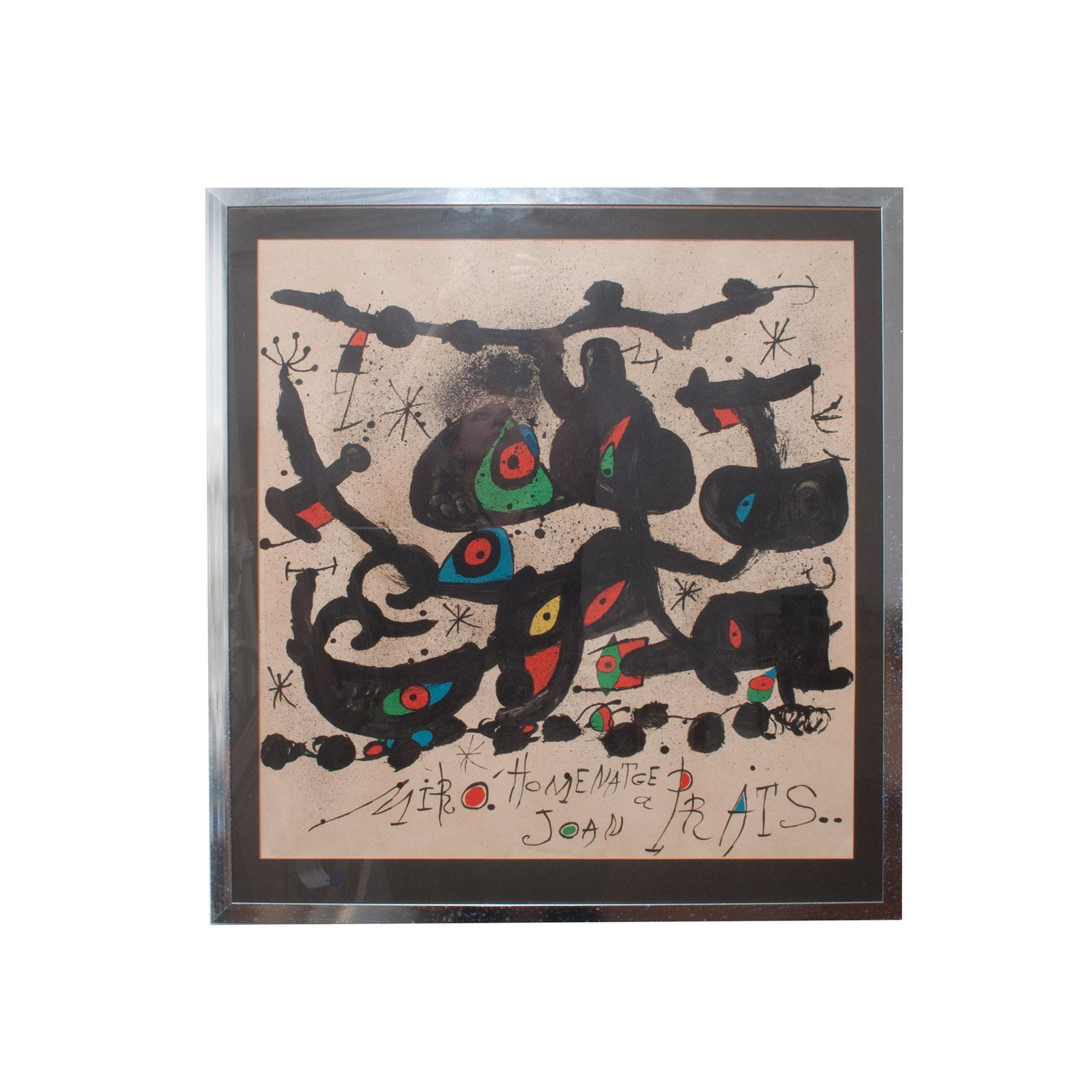 """Joan Miró i Ferrà Lithograph Exhibition Poster for """"Homenatge a Joan Prats"""""""