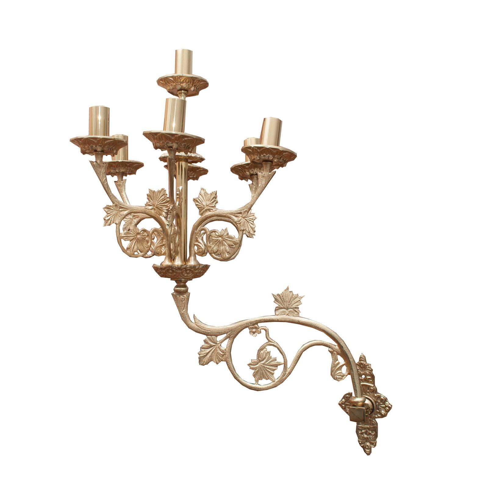 Ornate Leaf Brass Candelabra Wall Sconce