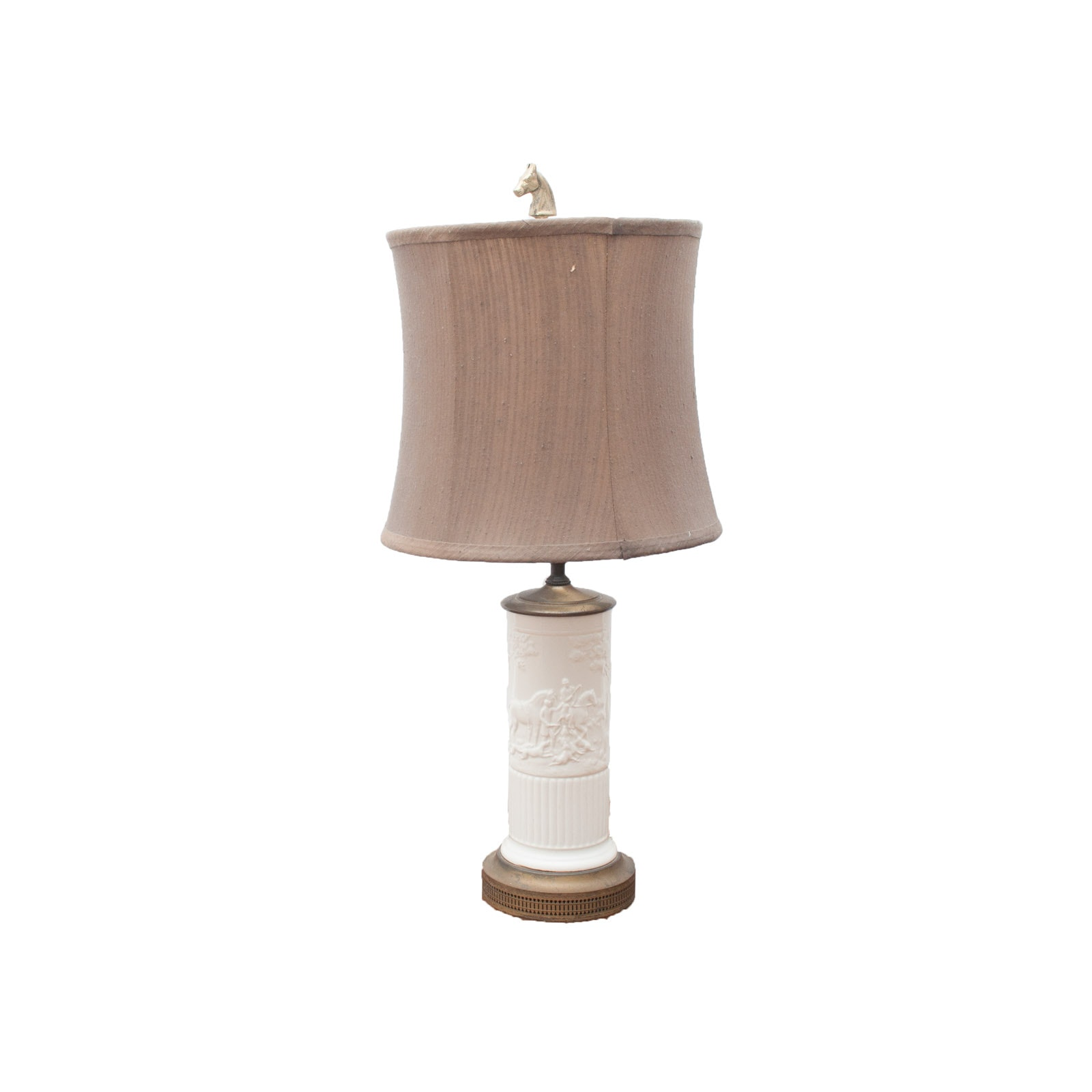 Vintage Ceramic and Brass Fox Hunt Table Lamp