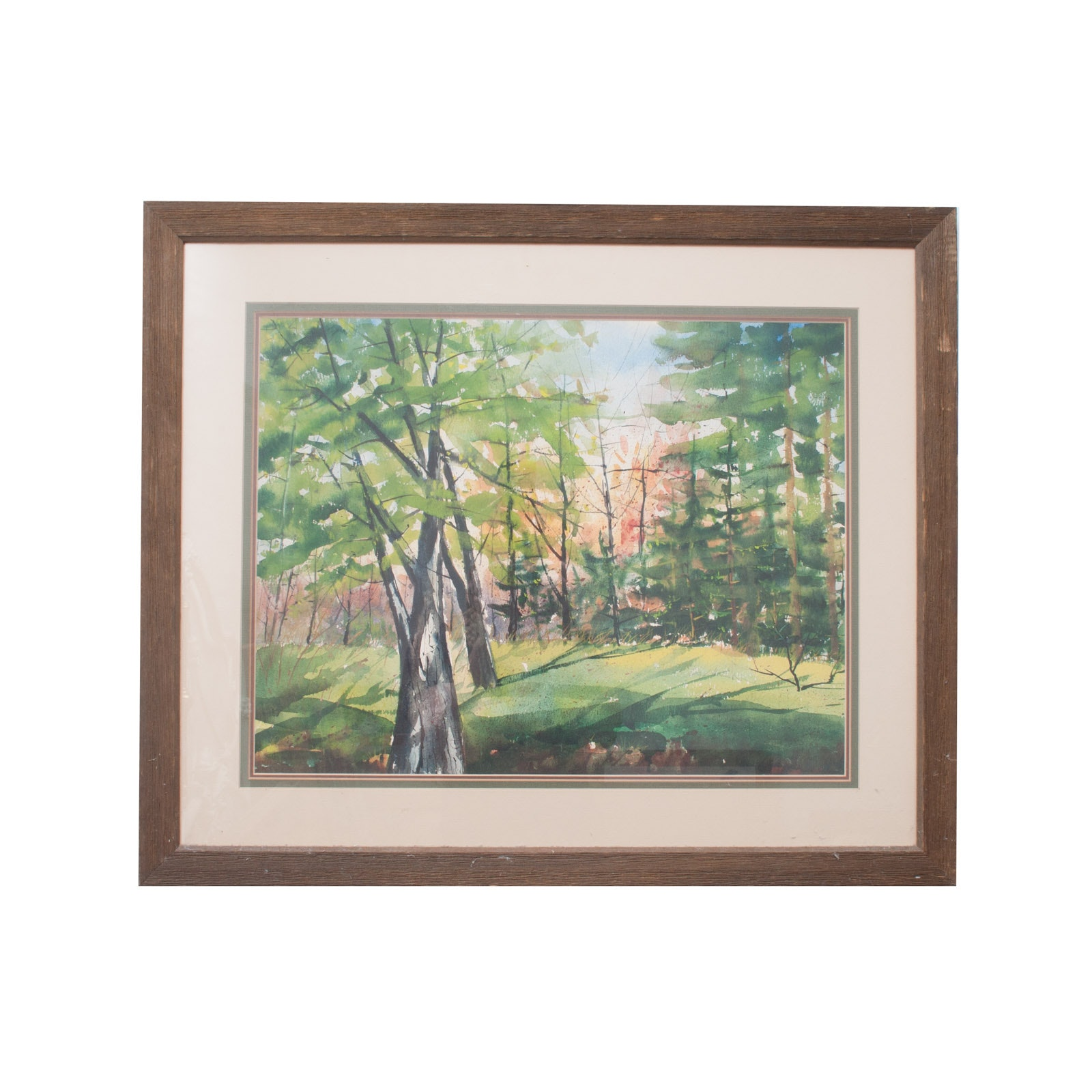 Original Watercolor on Paper of Forested Landscape