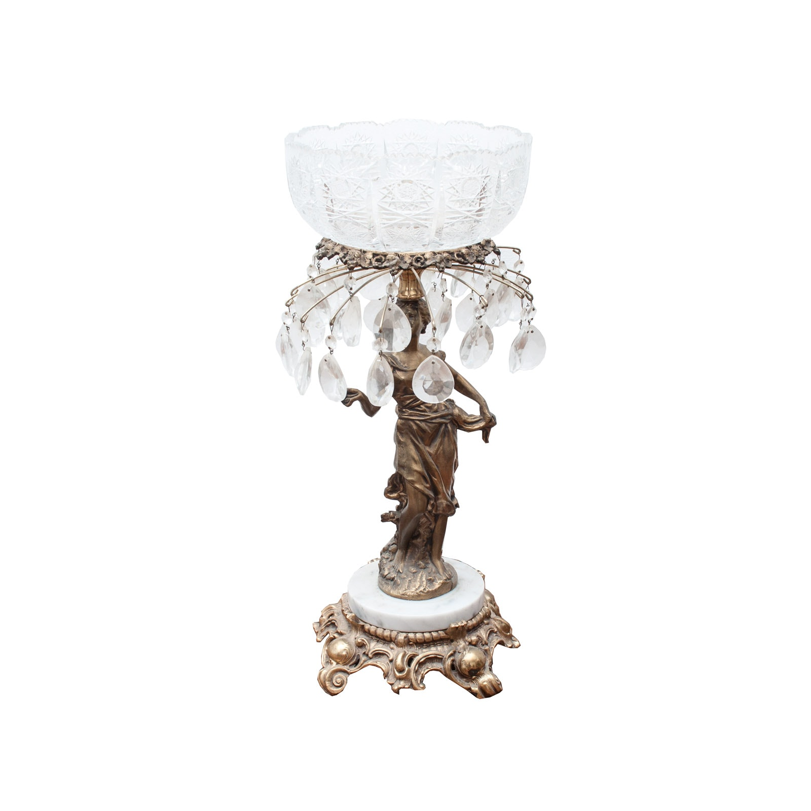 Vintage Figural Brass and Glass Compote with White Marble Base