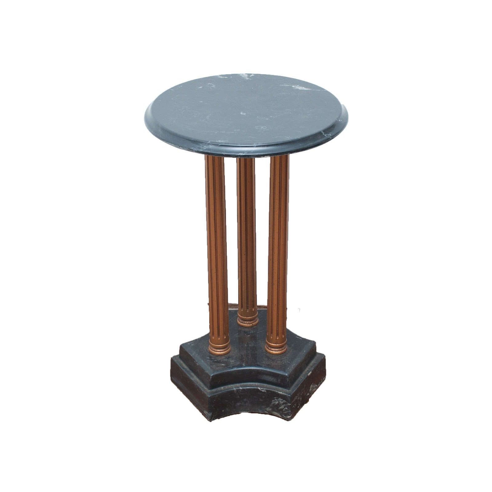 Black Marble and Wood Pedestal Accent Table
