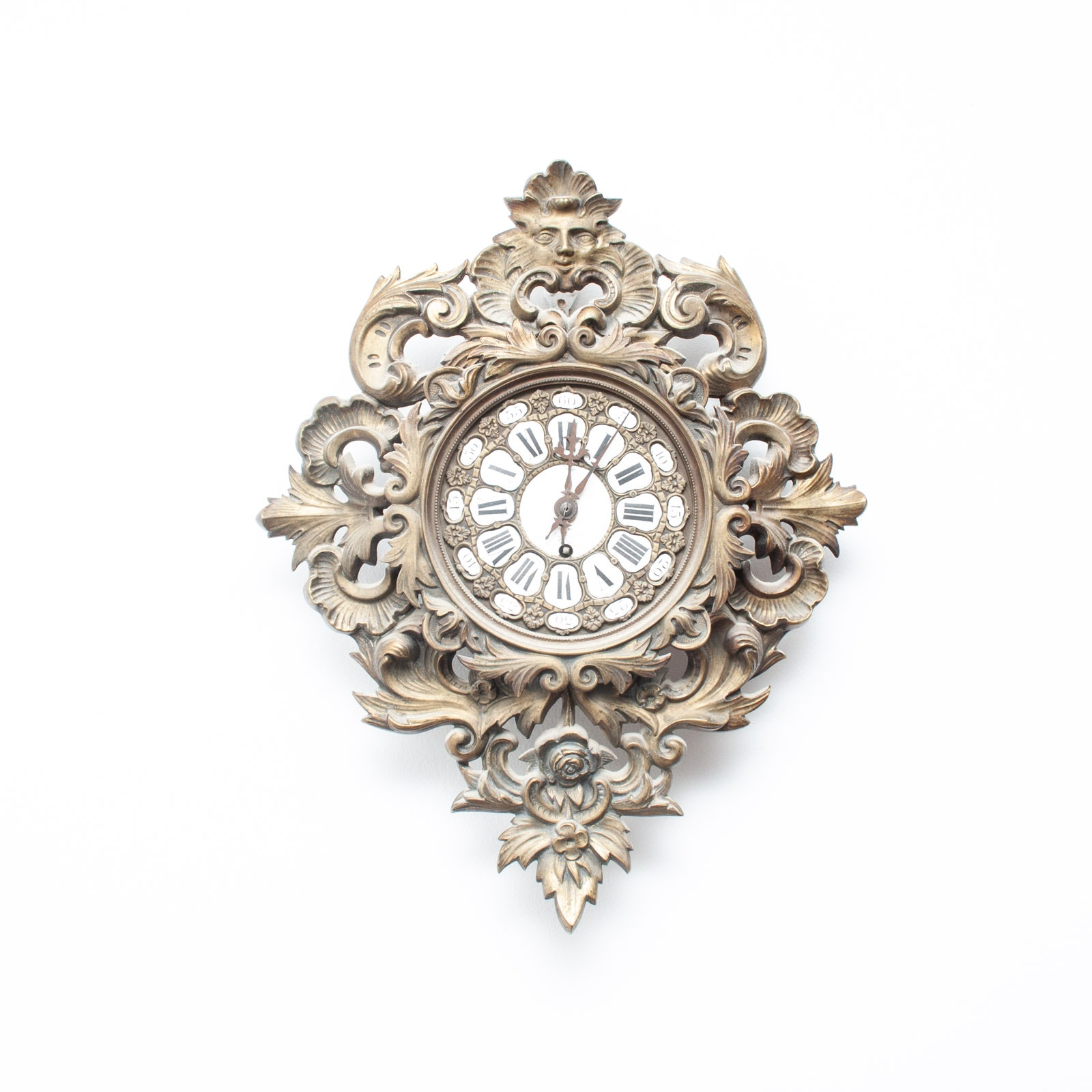 Antique Ornate Porcelain and Brass Toned Metal Wall Clock