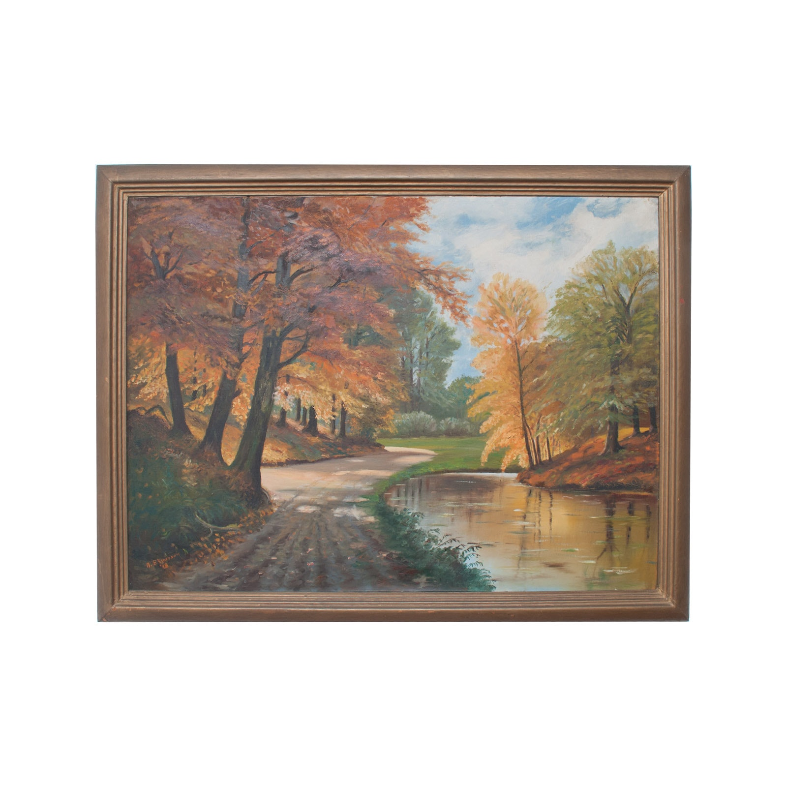 A.F. Emerson 1938 Original Oil Painting on Canvas of Fall Landscape