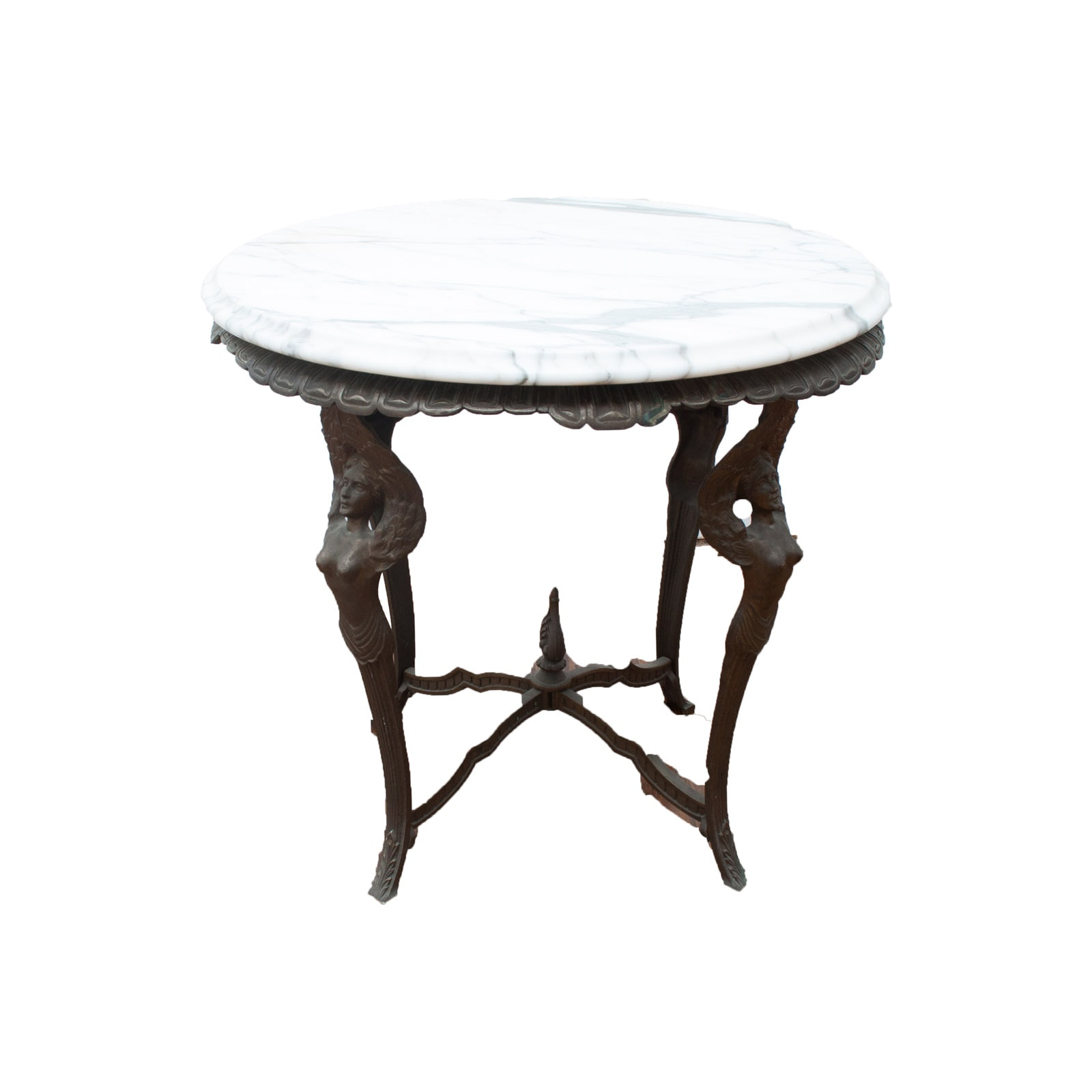 Antique Bronze Winged Woman Parlor Table with White Marble Table Top