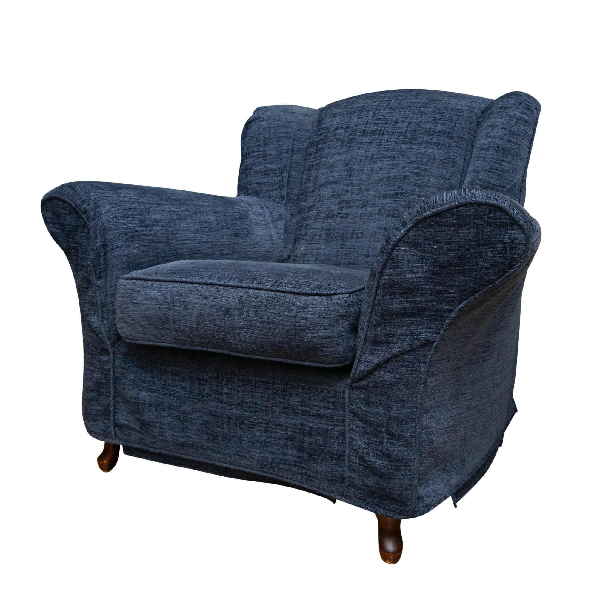 Wingback Oversized Lounge Chair with Blue Slipcover from Crate & Barrel