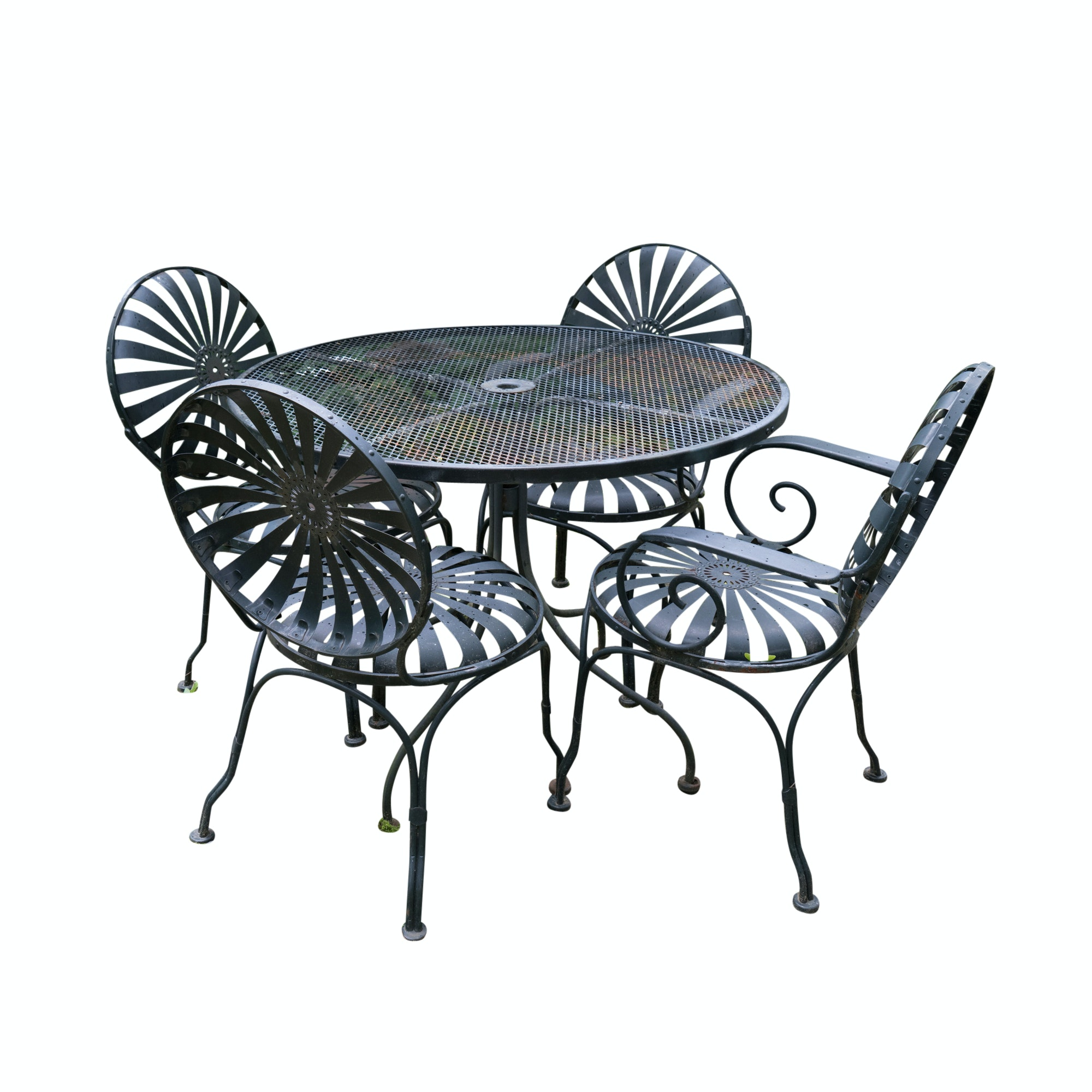 Patio Furniture Set with Four Chairs, One Bench, and One Table