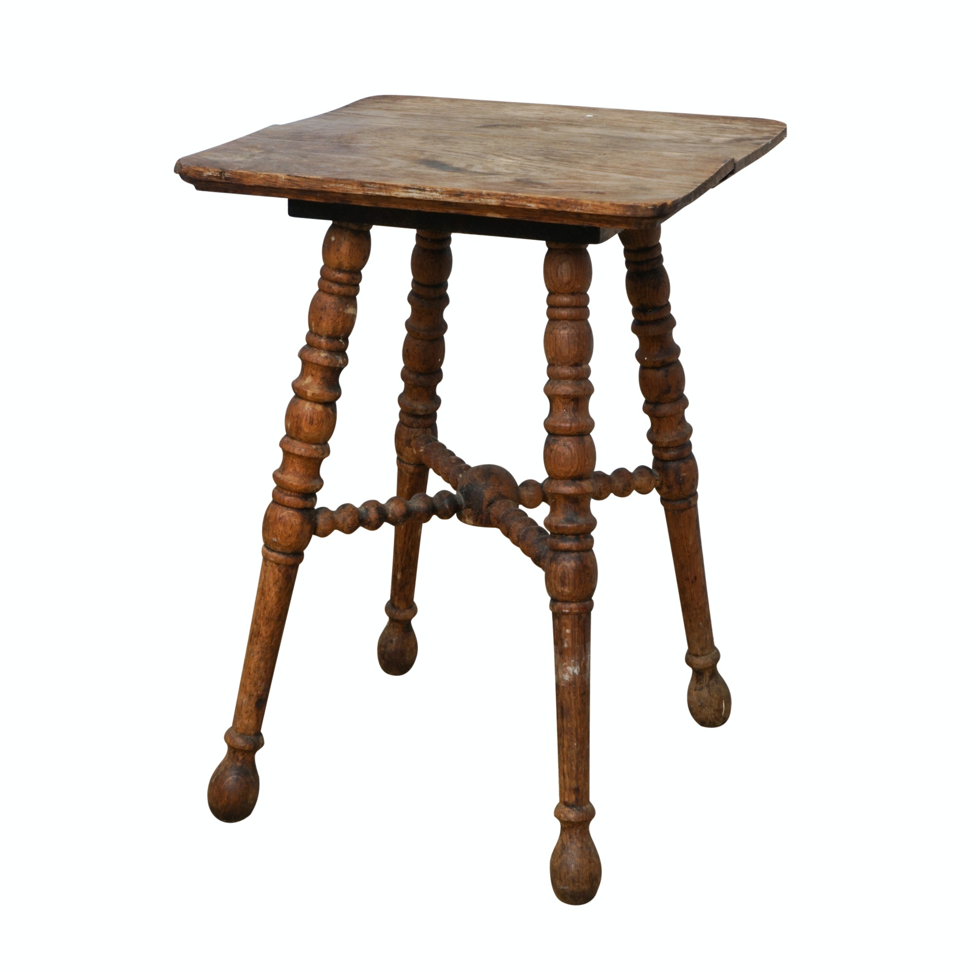 Antique Oak Spool-Turned Accent Table