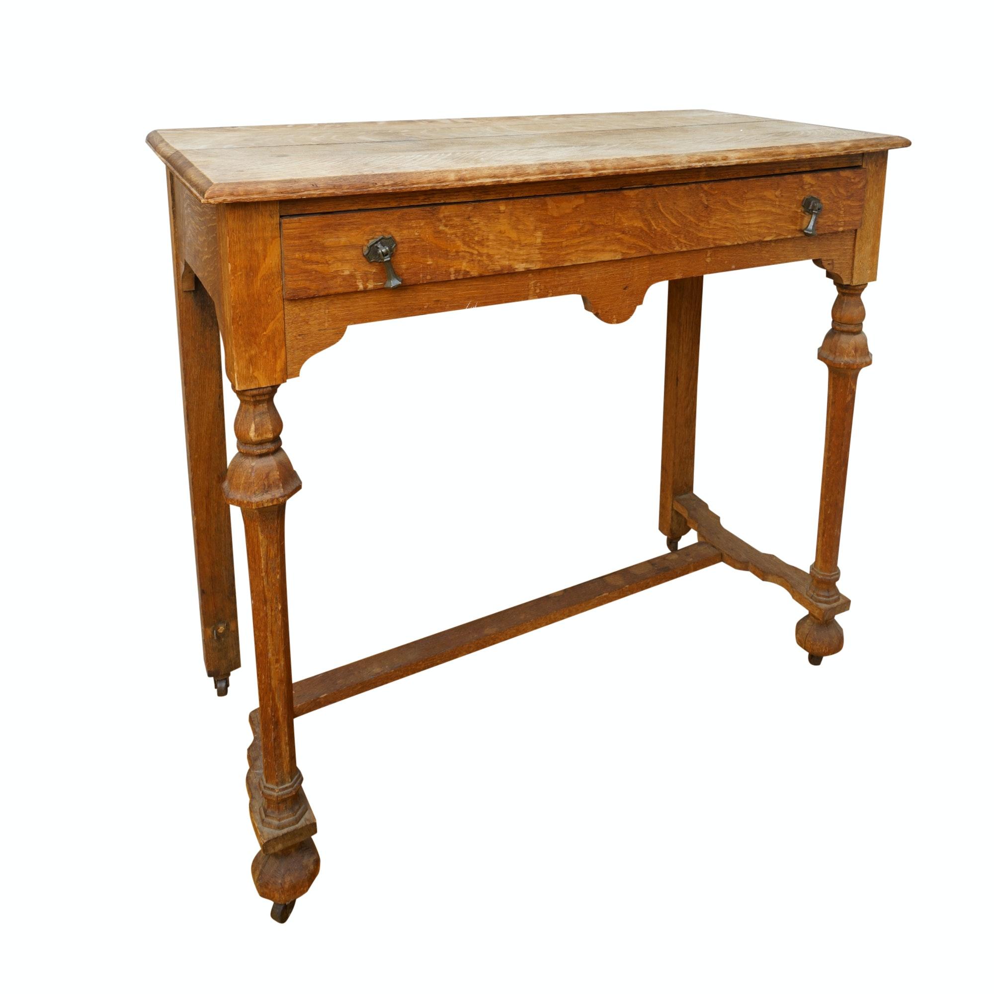 Antique Figured Oak Entry Table