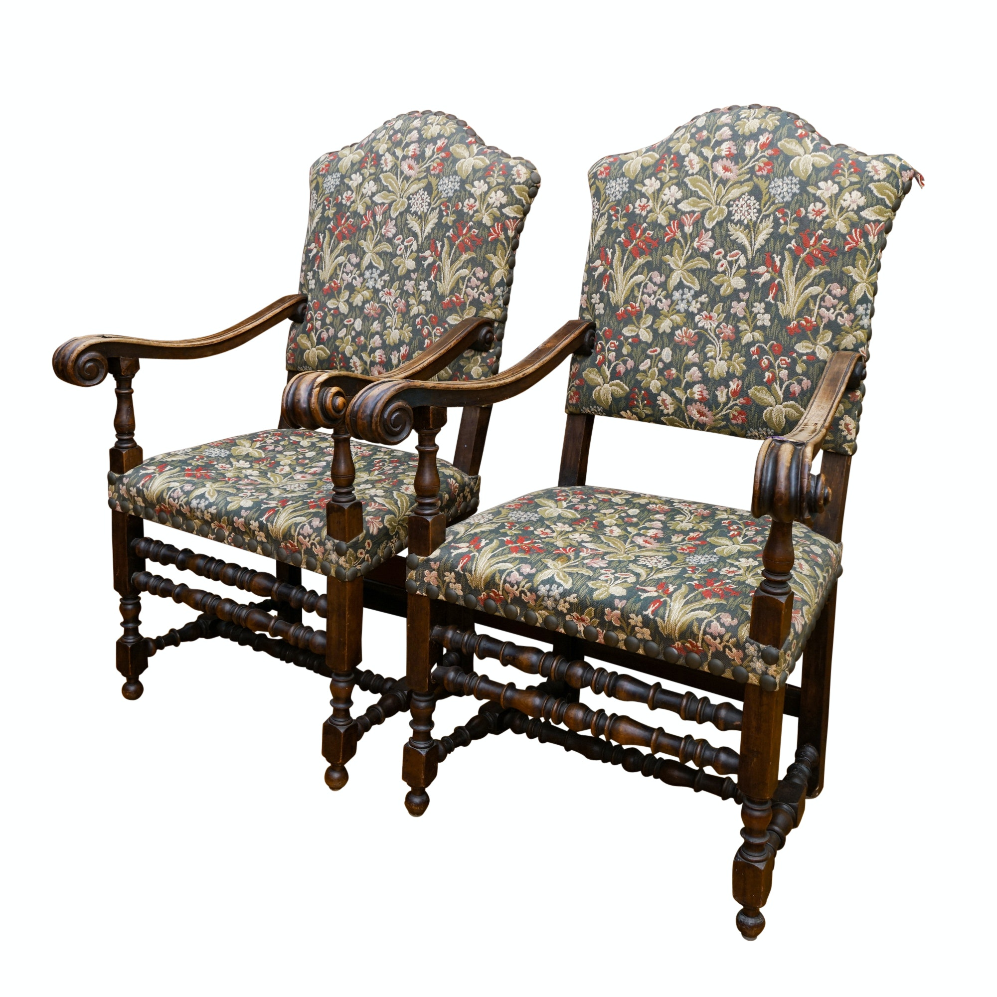 Vintage Jacobean Style Upholstered Armchairs
