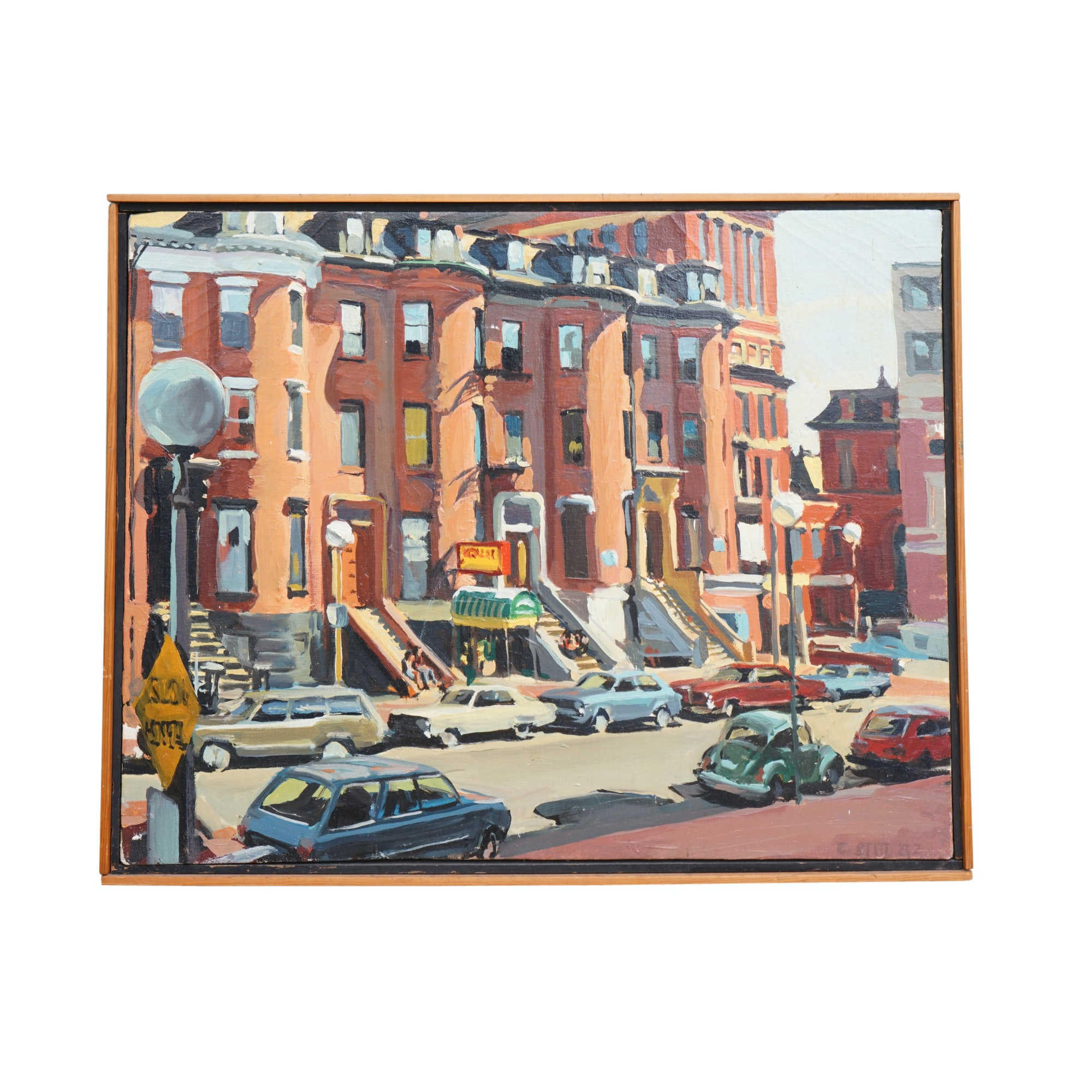 Ed Stitt Oil Painting of Boston South End Street Scene