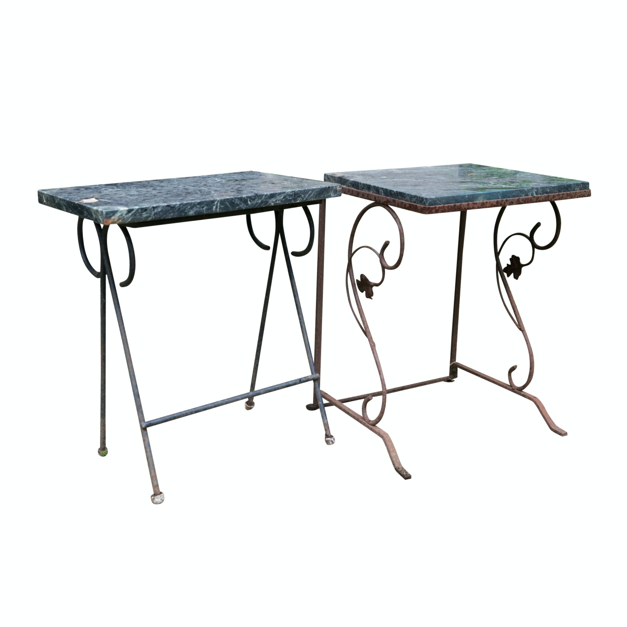 Vintage Wrought Iron and Stone Outdoor Side Tables