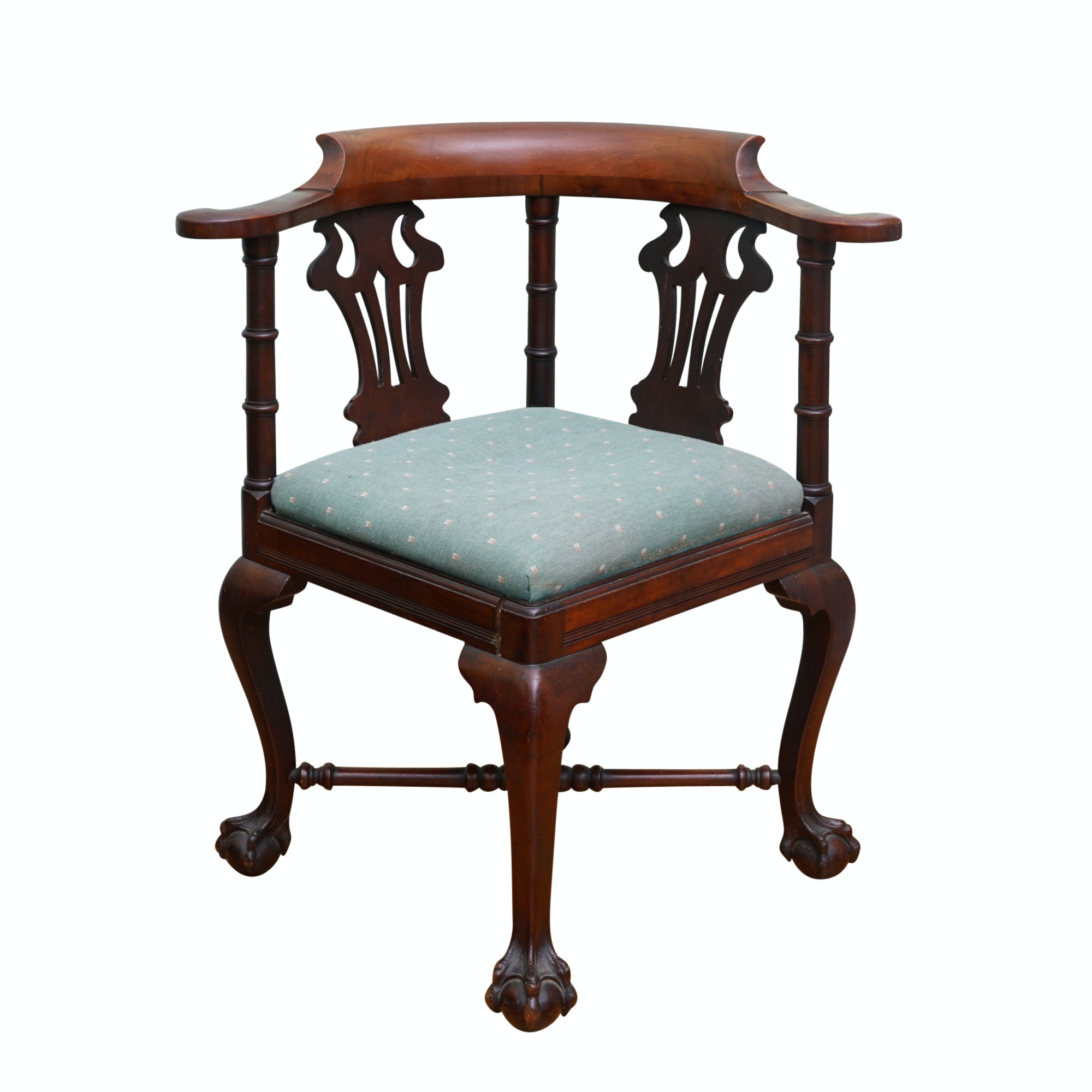 Vintage Chippendale Style Mahogany Corner Chair