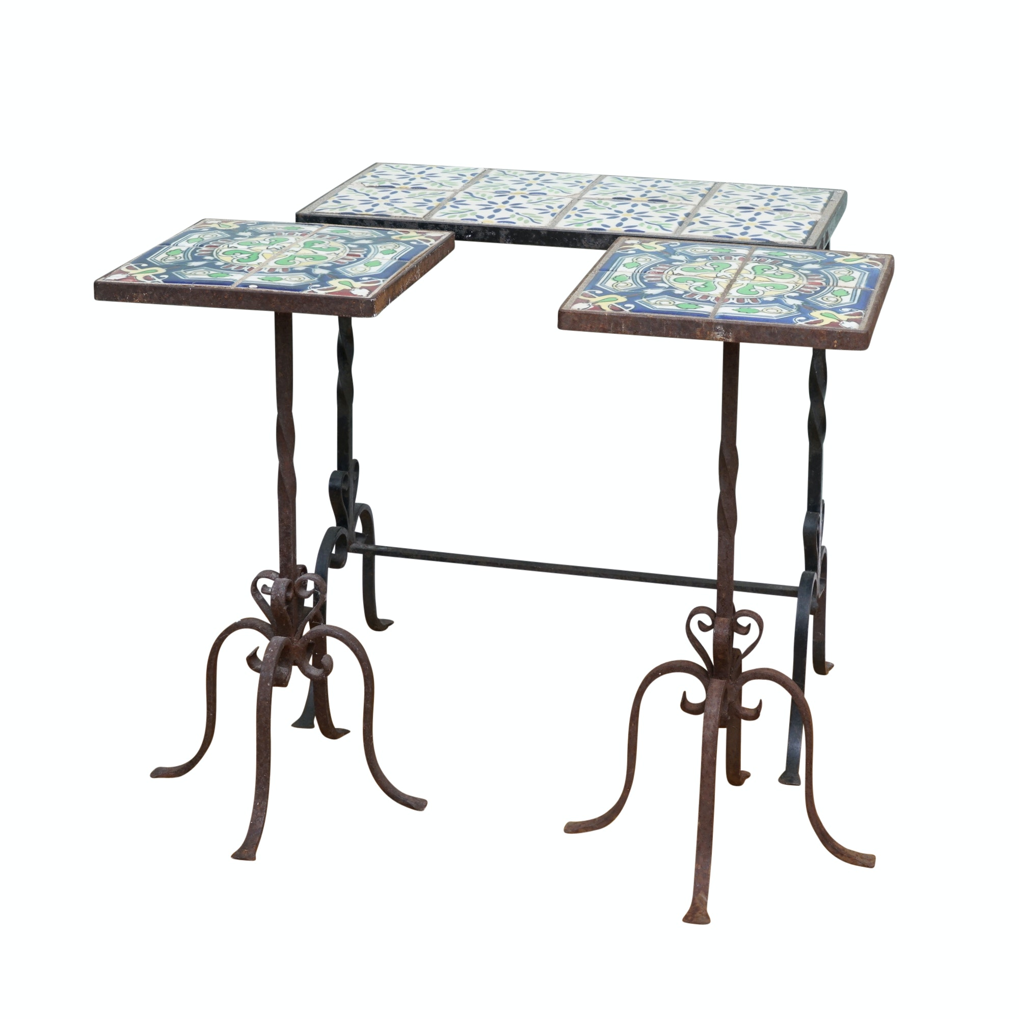 Wrought Iron Accent Tables with Hand-Painted Ceramic Tile Tops
