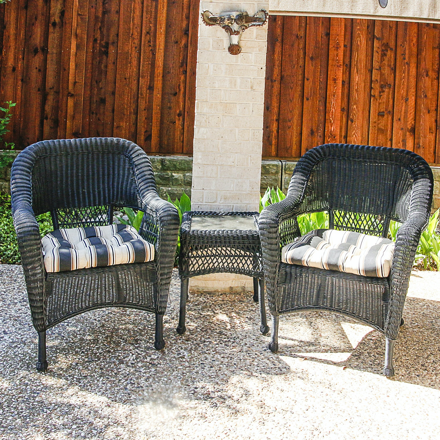 Wicker Weave Resin Patio Chairs and Matching Accent Table