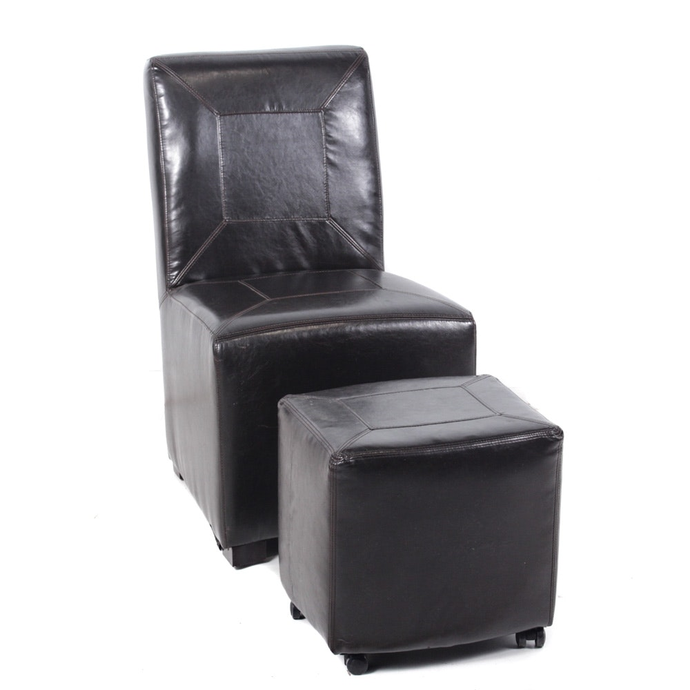Brown Leather Side Chair and Ottoman